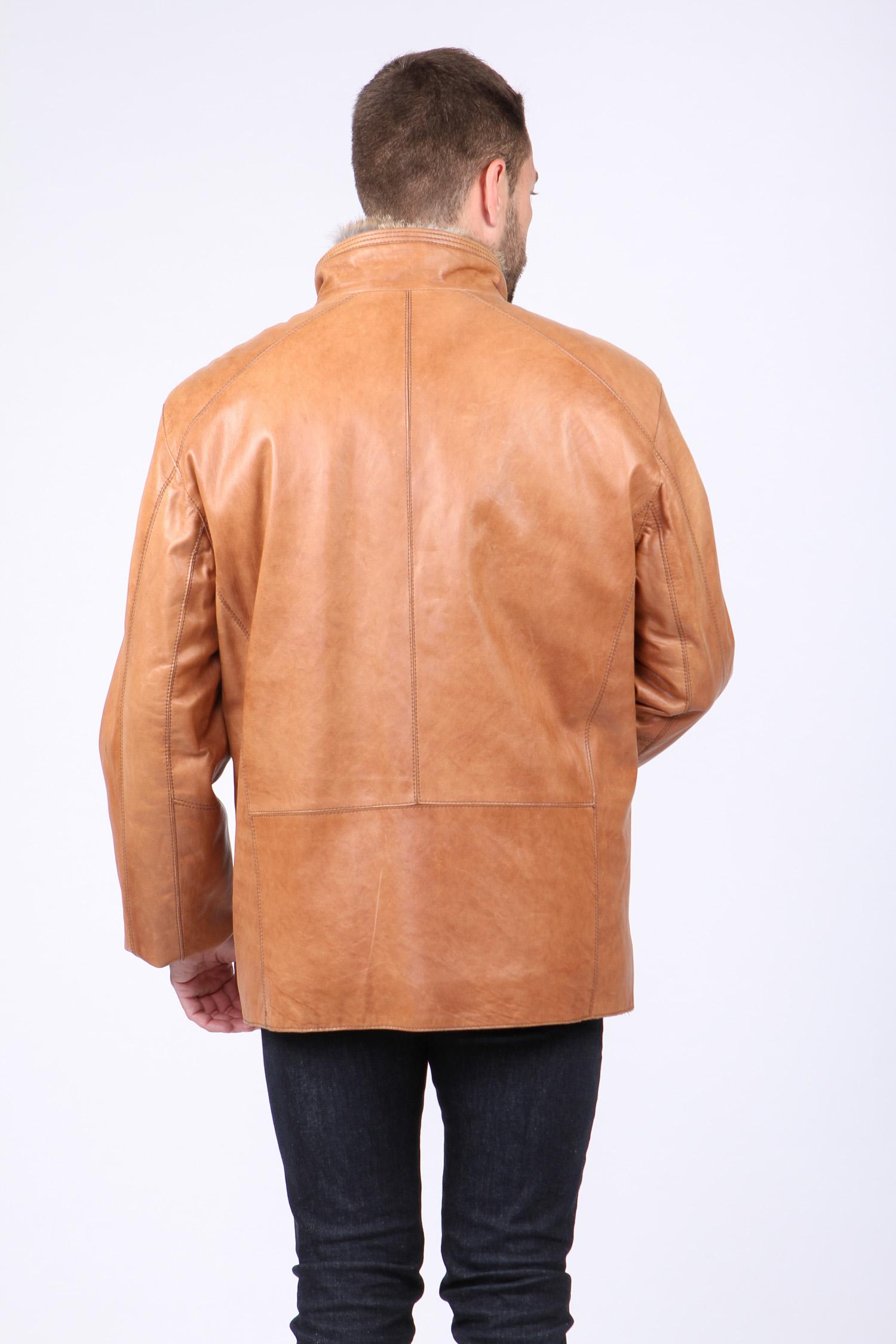 Мужская кожаная куртка из натуральной кожи на меху с воротником, без отделки от Московская Меховая Компания