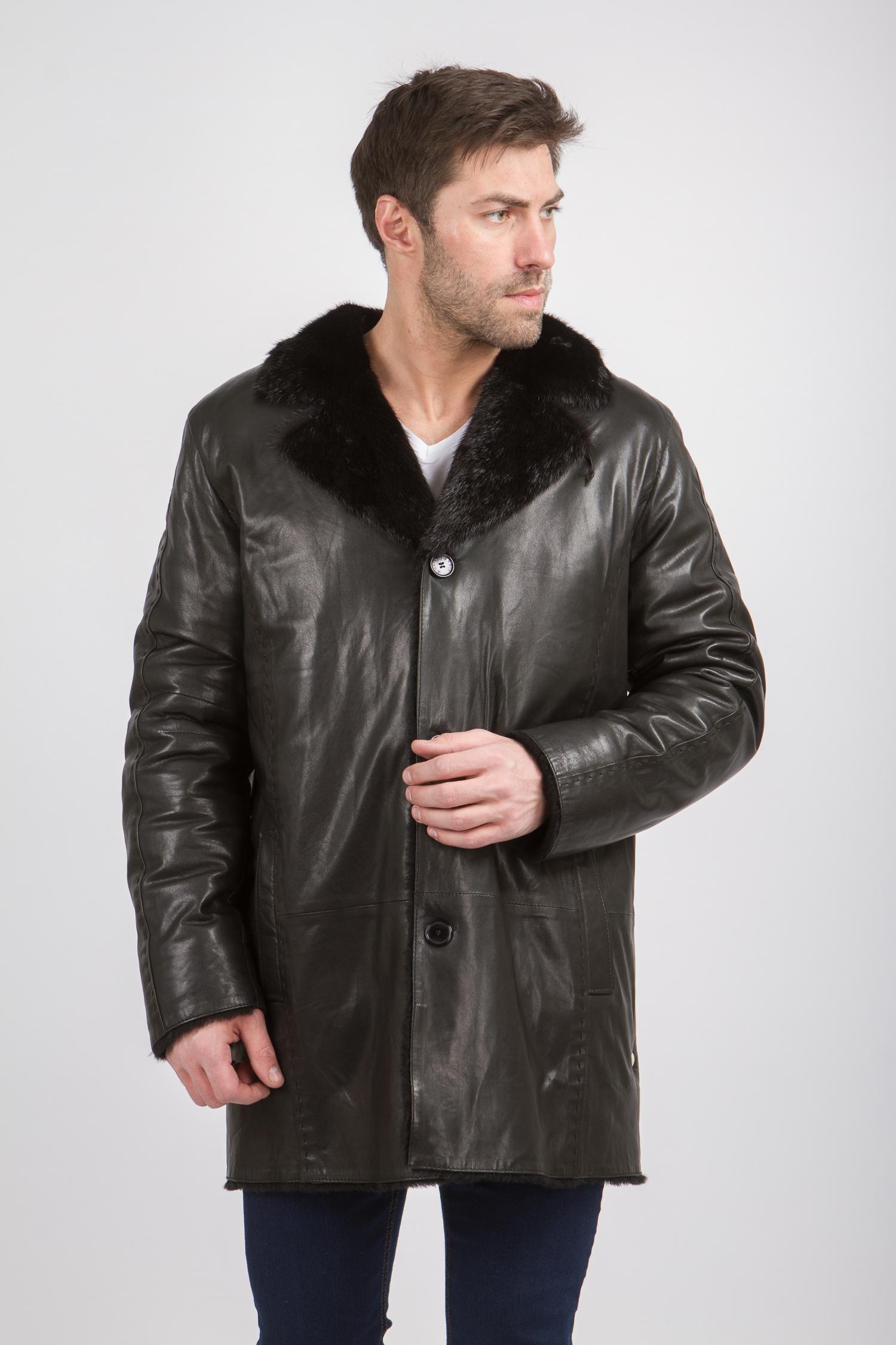 Мужская кожаная куртка из натуральной кожи на меху с воротником, отделка ондатра