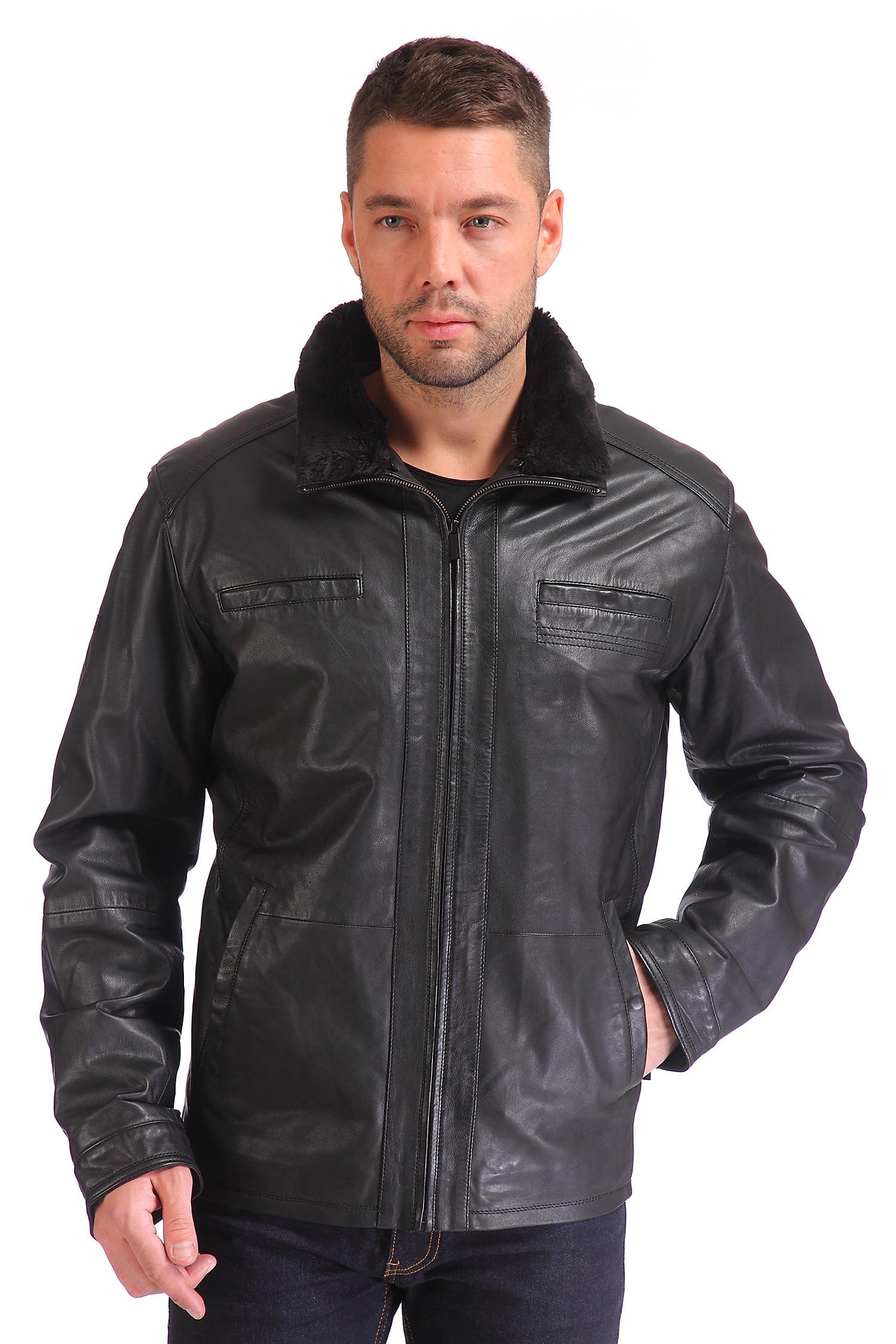 Мужская кожаная куртка из натуральной кожи с воротником, отделка искусственный мех