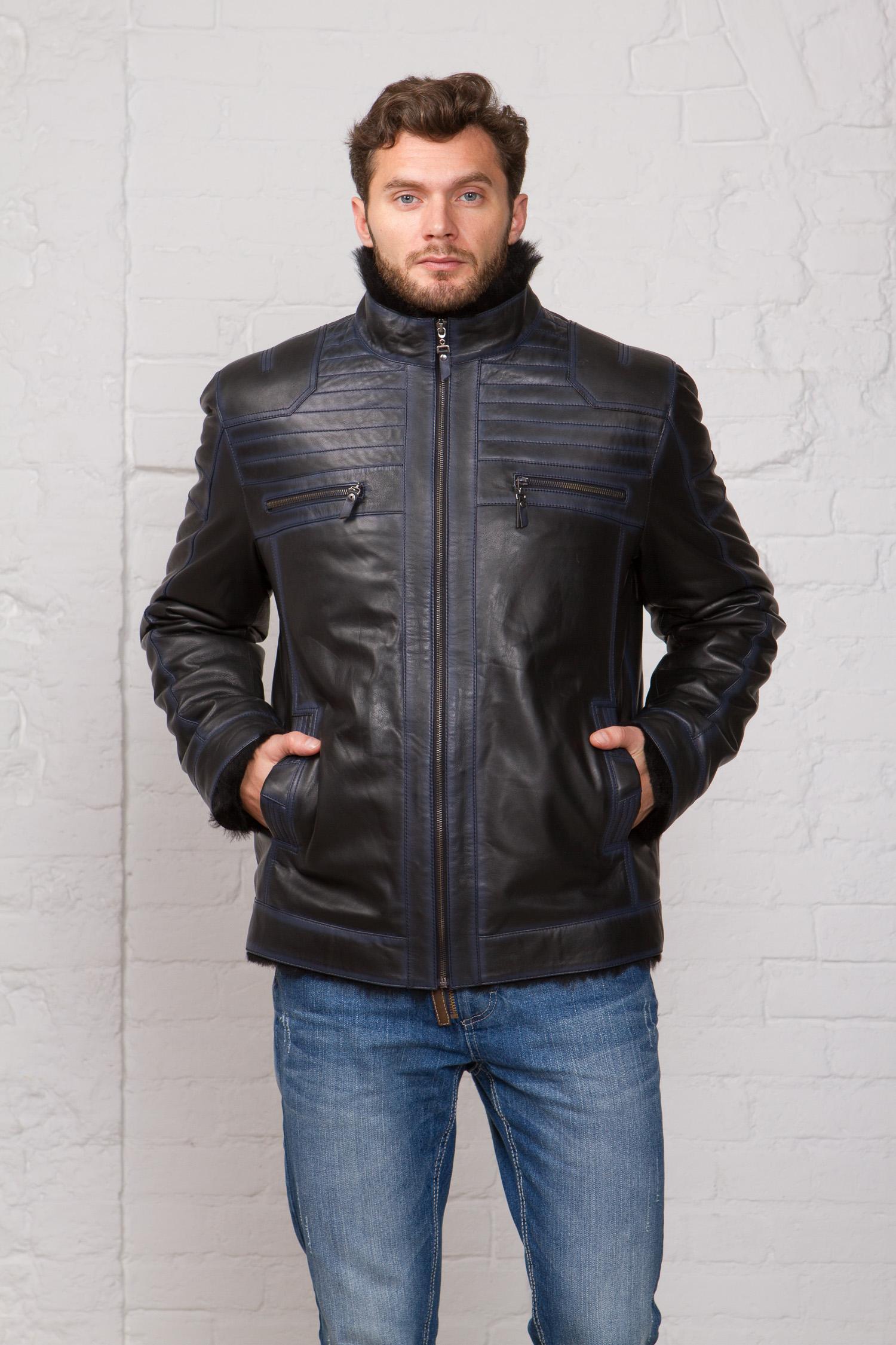 Мужская кожаная куртка из натуральной кожи на меху с воротником, без отделки<br><br>Воротник: стойка<br>Длина см: Короткая (51-74 )<br>Материал: Кожа овчина<br>Цвет: синий<br>Вид застежки: центральная<br>Застежка: на молнии<br>Пол: Мужской<br>Размер RU: 54