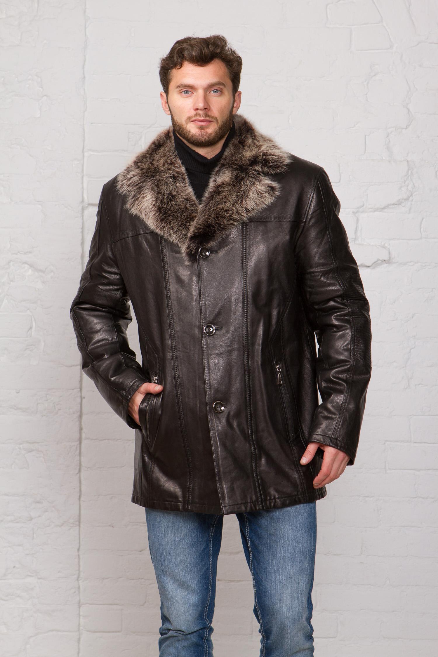 Мужская кожаная куртка из натуральной кожи на меху с воротником, отделка тоскана