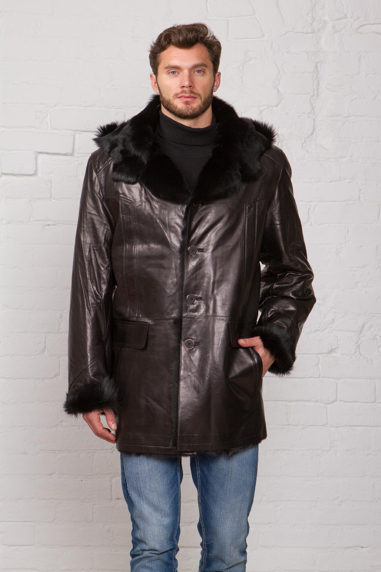 Мужская кожаная куртка из натуральной кожи на меху с капюшоном, отделка тоскана<br><br>Воротник: капюшон<br>Длина см: Средняя (75-89 )<br>Материал: Кожа овчина<br>Цвет: черный<br>Вид застежки: центральная<br>Застежка: на пуговицы<br>Пол: Мужской<br>Размер RU: 64