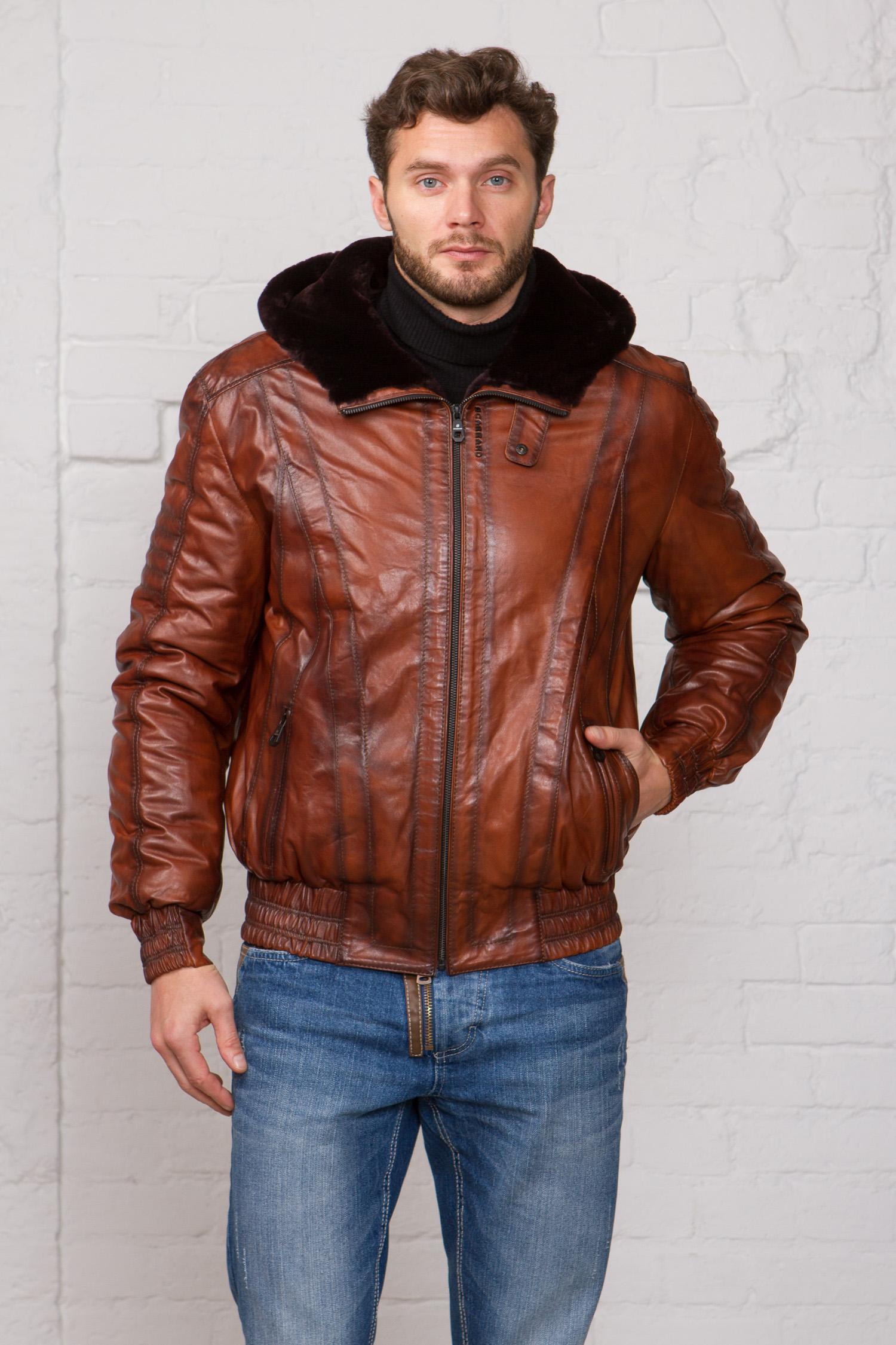 Мужская кожаная куртка из натуральной кожи на меху с капюшоном, без отделки<br><br>Воротник: капюшон<br>Длина см: Короткая (51-74 )<br>Материал: Кожа овчина<br>Цвет: коричневый<br>Вид застежки: центральная<br>Застежка: на молнии<br>Пол: Мужской<br>Размер RU: 58