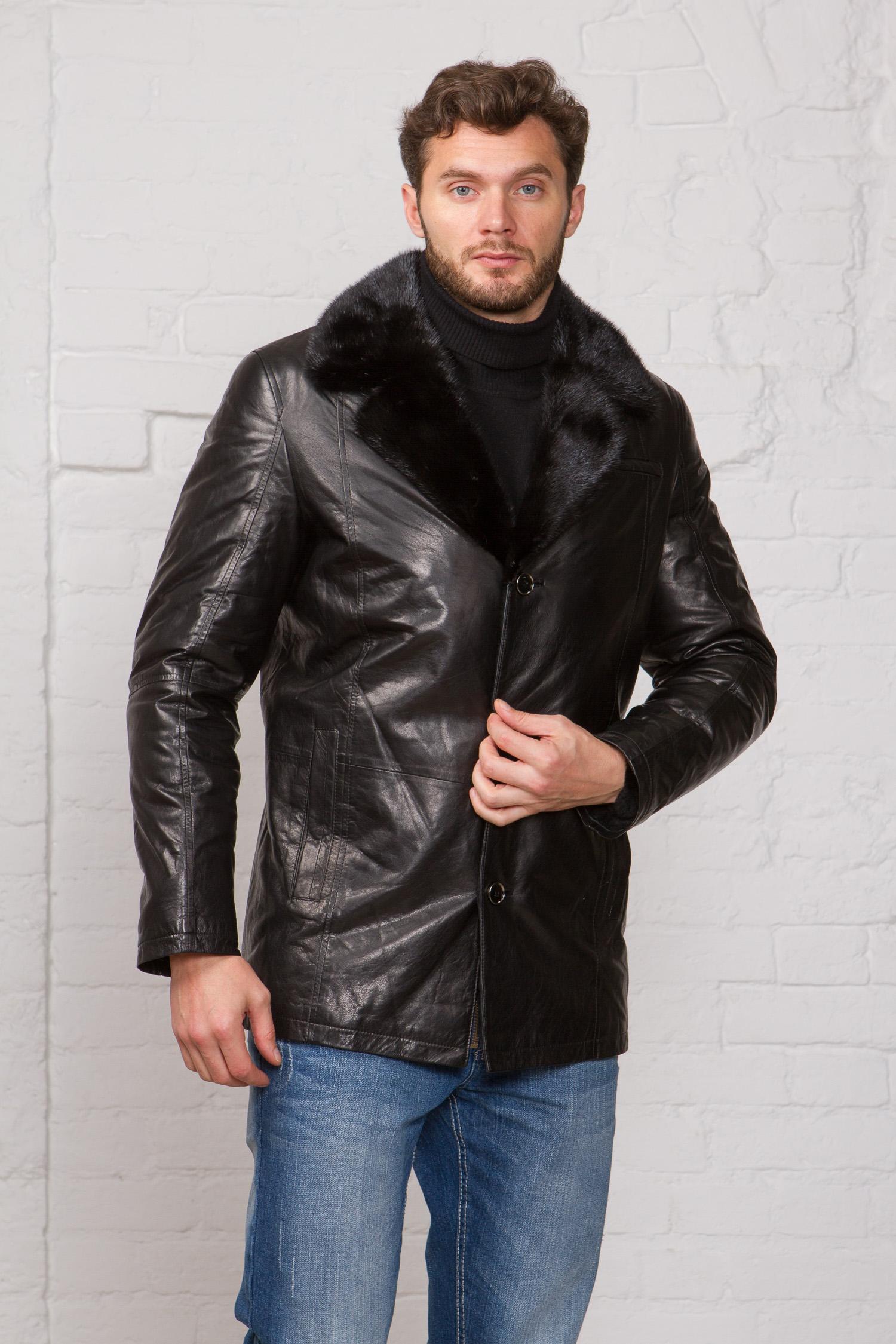 Мужская кожаная куртка из натуральной кожи на меху с воротником, отделка норка<br><br>Воротник: английский<br>Длина см: Короткая (51-74 )<br>Материал: Кожа овчина<br>Цвет: черный<br>Вид застежки: центральная<br>Застежка: на пуговицы<br>Пол: Мужской<br>Размер RU: 50