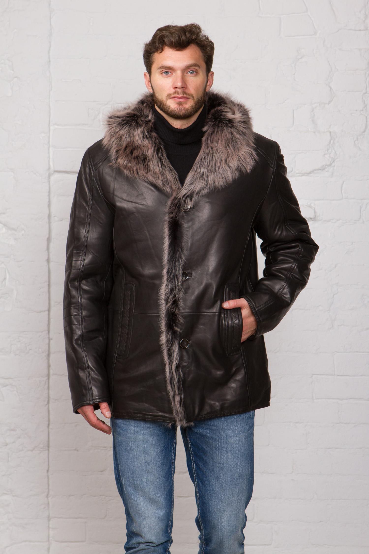 Мужская кожаная куртка из натуральной кожи на меху с капюшоном, отделка тоскана. Производитель: Московская Меховая Компания, артикул: 7505