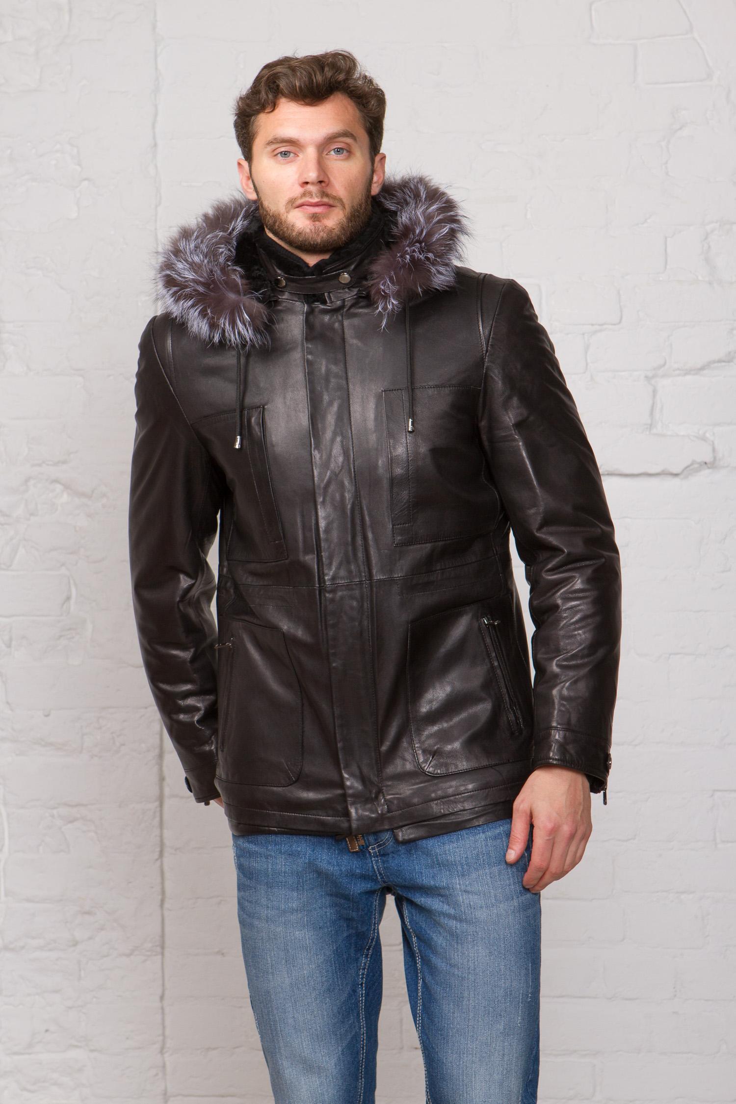 Мужская кожаная куртка из натуральной кожи на меху с капюшоном, отделка чернобурка