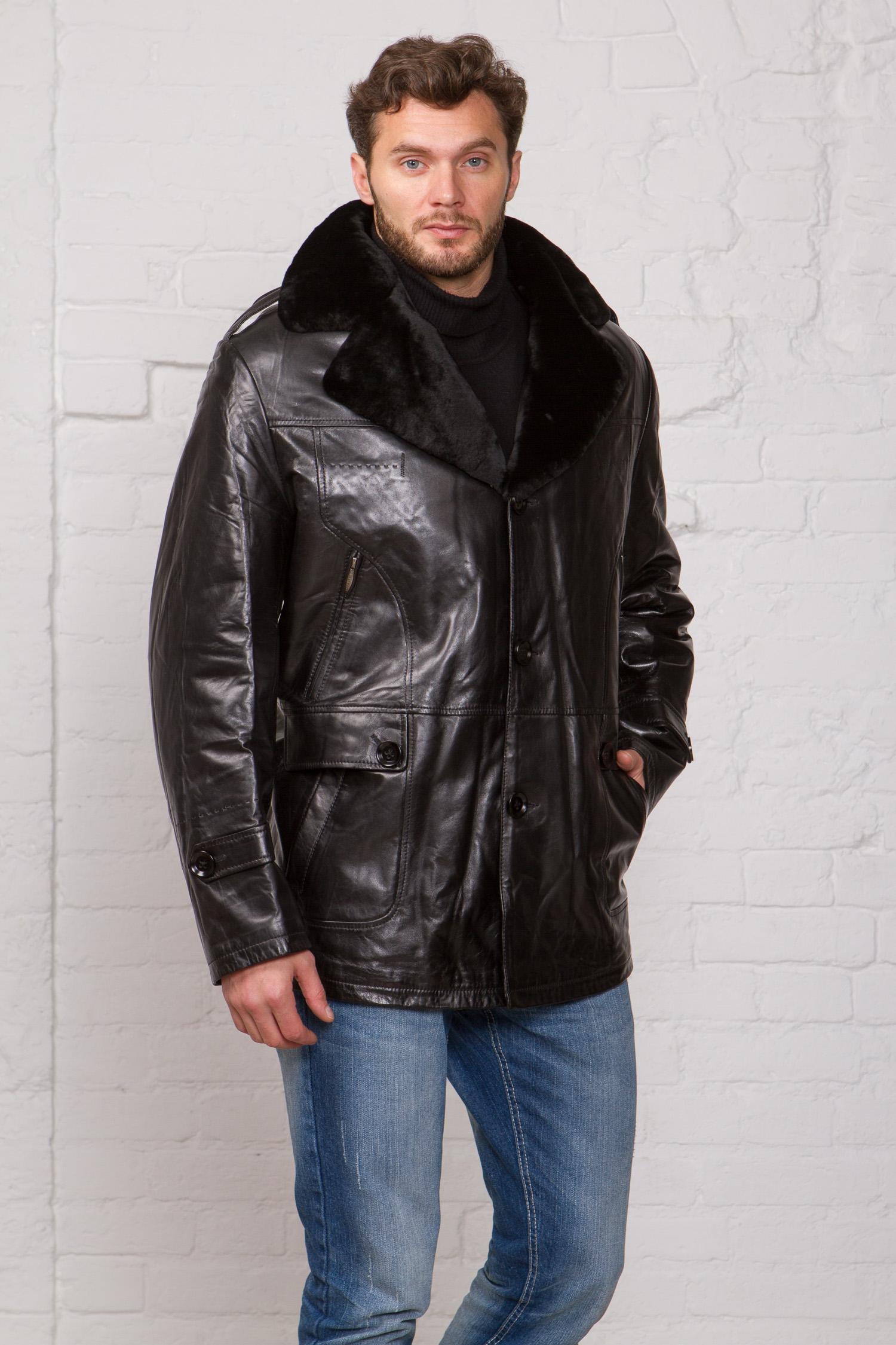 Мужская кожаная куртка из натуральной кожи на меху с воротником, без отделки<br><br>Воротник: английский<br>Длина см: Средняя (75-89 )<br>Материал: Кожа овчина<br>Цвет: черный<br>Вид застежки: центральная<br>Застежка: на пуговицы<br>Пол: Мужской<br>Размер RU: 68