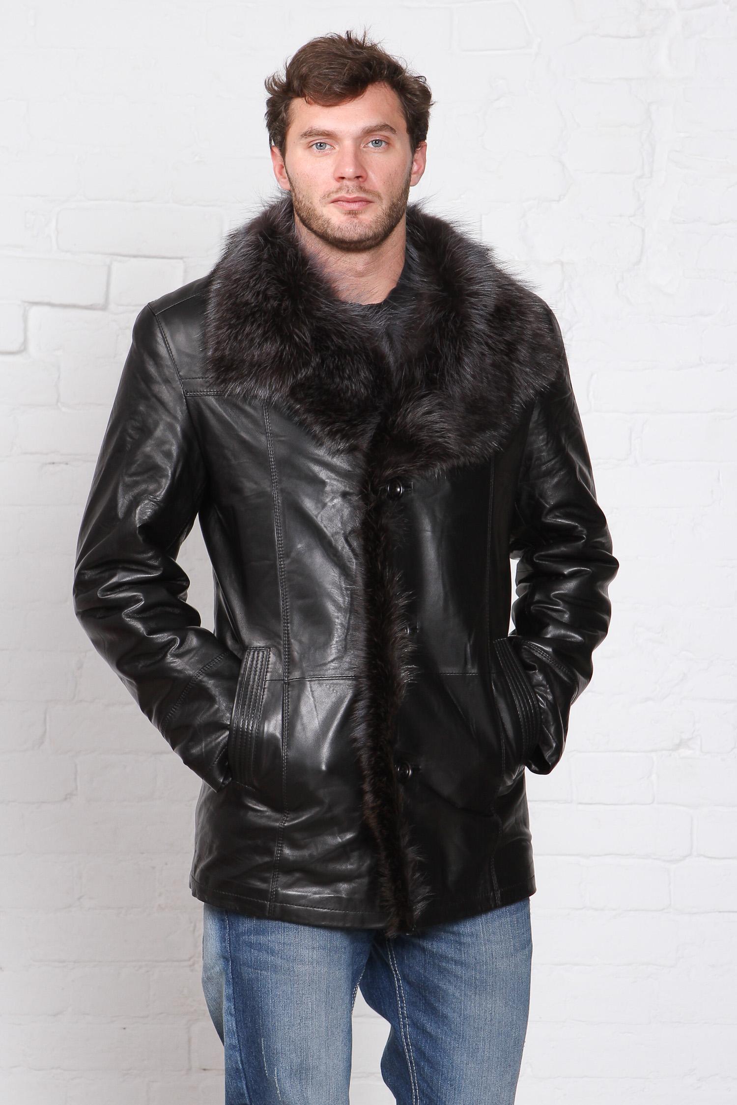 Мужская кожаная куртка из натуральной кожи на меху с воротником, отделка енот<br><br>Воротник: английский<br>Длина см: Короткая (51-74 )<br>Материал: Кожа овчина<br>Цвет: черный<br>Вид застежки: центральная<br>Застежка: на пуговицы<br>Пол: Мужской<br>Размер RU: 58
