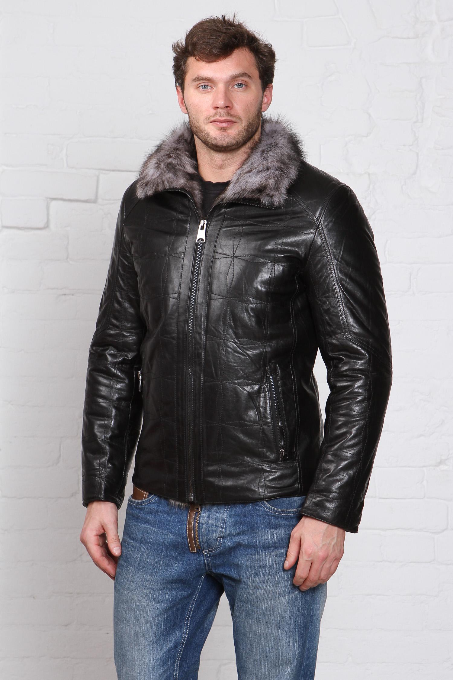 Мужская кожаная куртка из натуральной кожи на меху с воротником, отделка тоскана<br><br>Воротник: отложной<br>Длина см: Короткая (51-74 )<br>Материал: Кожа овчина<br>Цвет: черный<br>Вид застежки: центральная<br>Застежка: на молнии<br>Пол: Мужской<br>Размер RU: 58