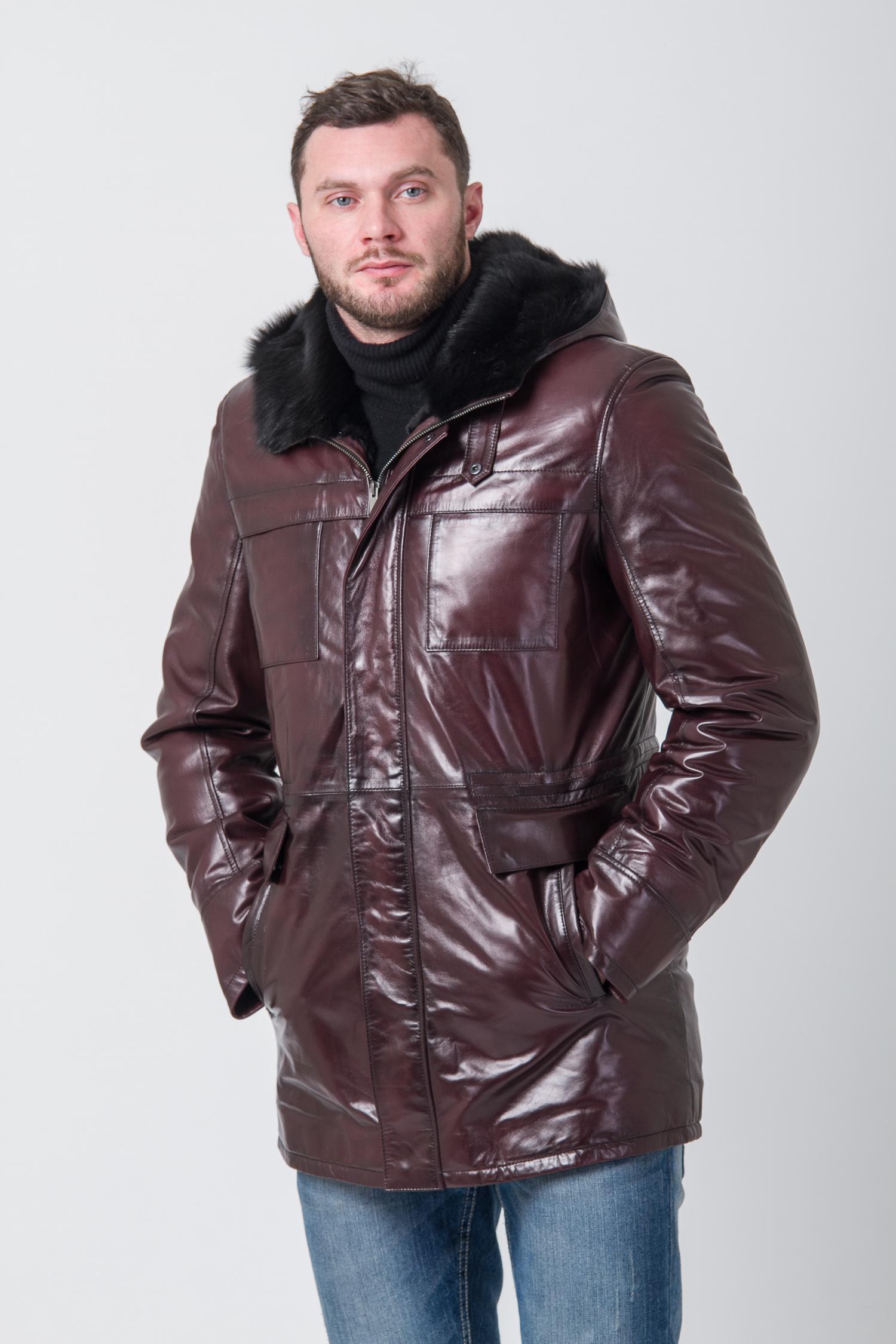 Мужская кожаная куртка из натуральной кожи на меху с капюшоном, отделка тоскана<br><br>Воротник: капюшон<br>Длина см: Средняя (75-89 )<br>Материал: Кожа овчина<br>Цвет: бордовый<br>Вид застежки: центральная<br>Застежка: на молнии<br>Пол: Мужской<br>Размер RU: 58