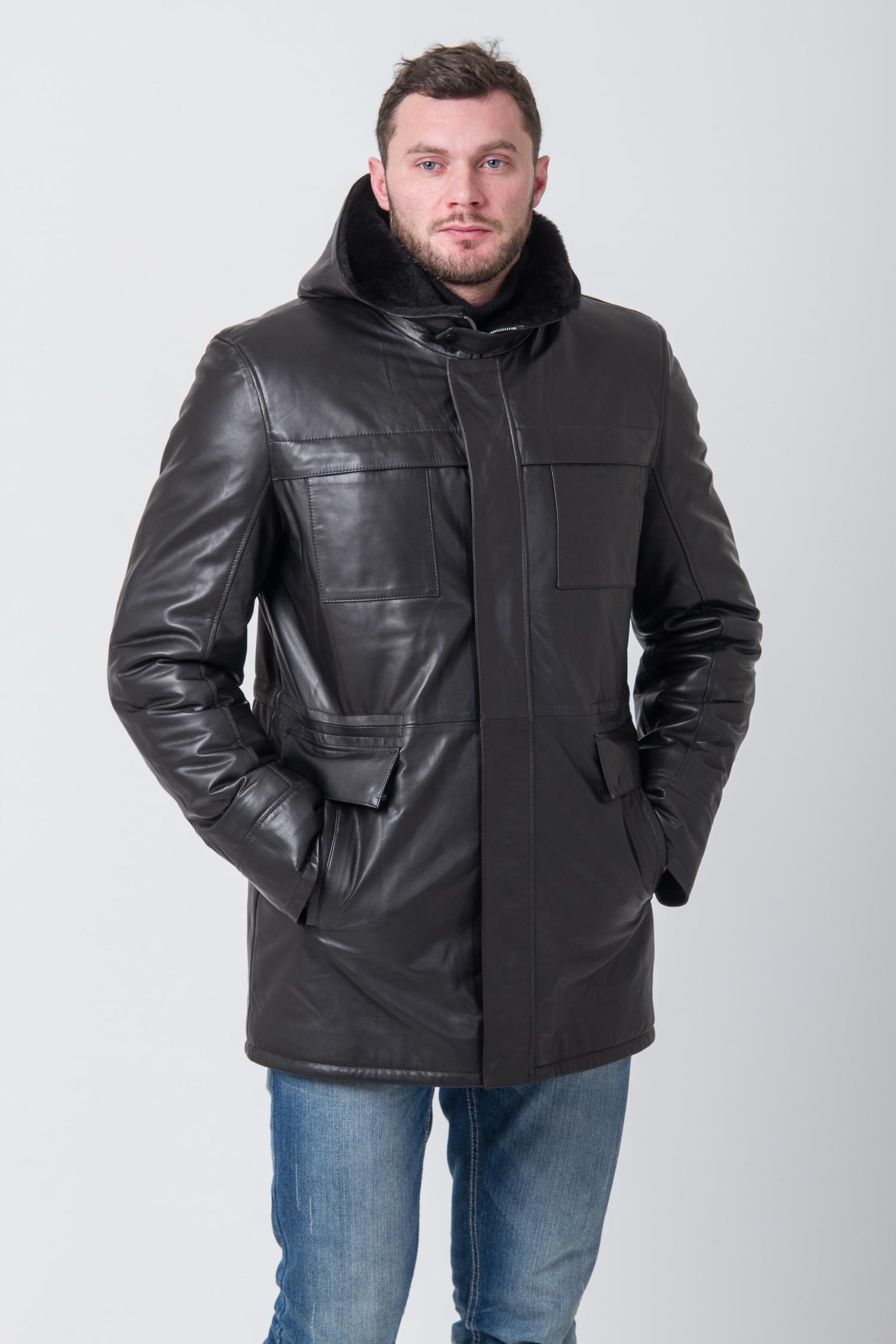 Мужская кожаная куртка из натуральной кожи на меху с капюшоном, без отделки<br><br>Воротник: капюшон<br>Длина см: Средняя (75-89 )<br>Материал: Кожа овчина<br>Цвет: черный<br>Вид застежки: центральная<br>Застежка: на молнии<br>Пол: Мужской<br>Размер RU: 58