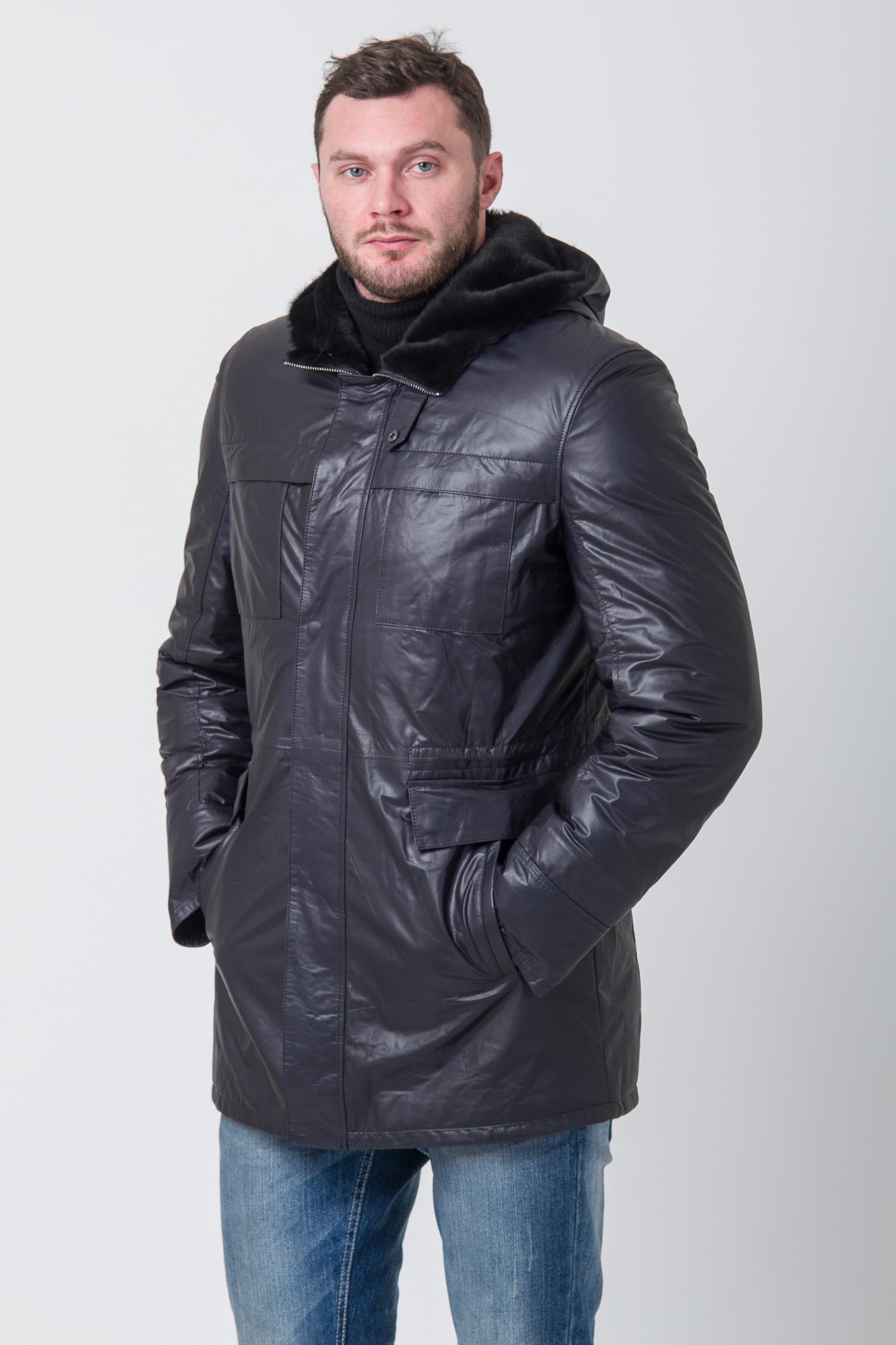 Мужская кожаная куртка из натуральной кожи на меху с капюшоном, без отделки<br><br>Воротник: капюшон<br>Длина см: Средняя (75-89 )<br>Материал: Кожа овчина<br>Цвет: синий<br>Вид застежки: центральная<br>Застежка: на молнии<br>Пол: Мужской<br>Размер RU: 58