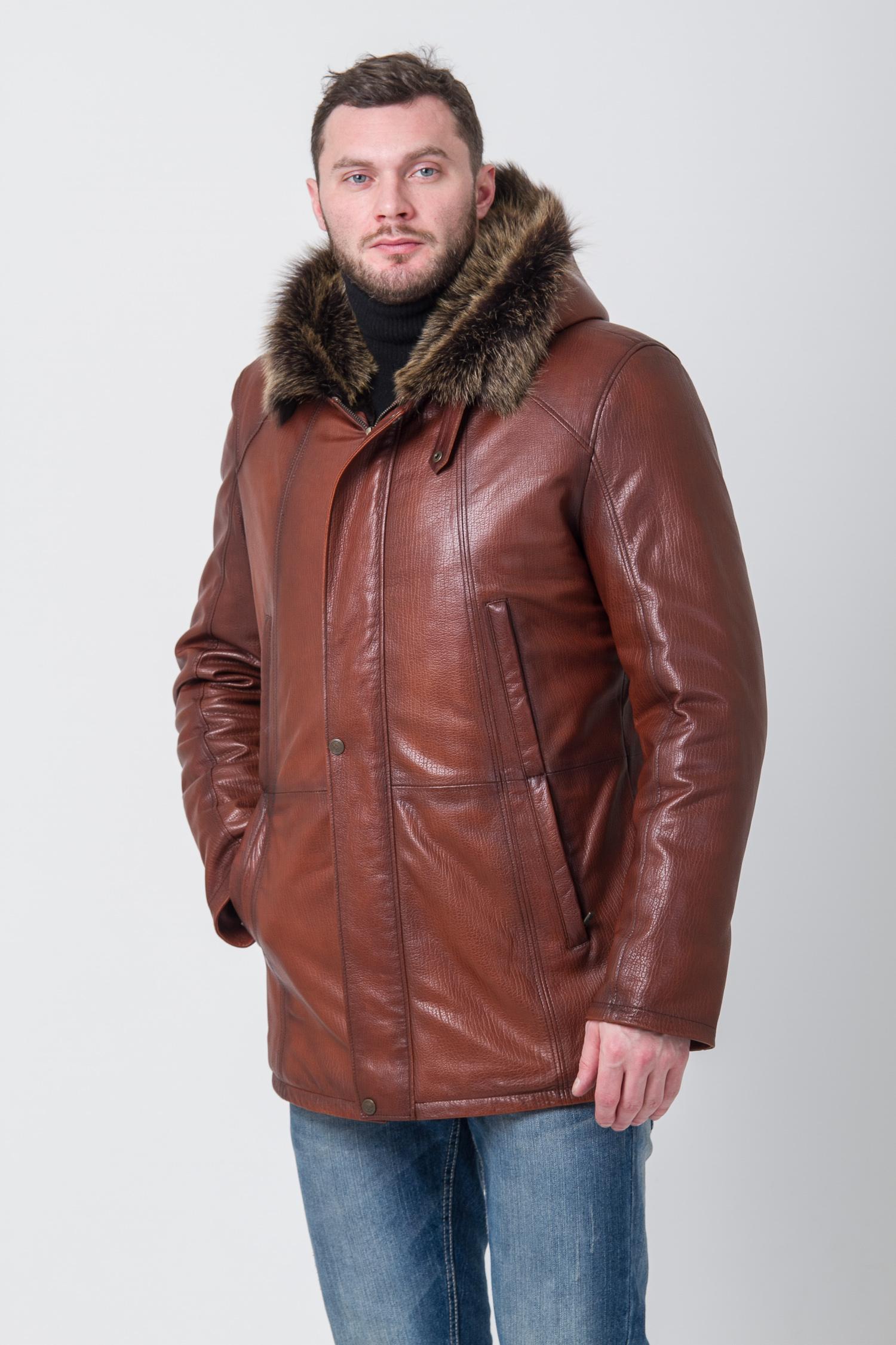 Мужская кожаная куртка из натуральной кожи на меху с капюшоном, отделка тоскана
