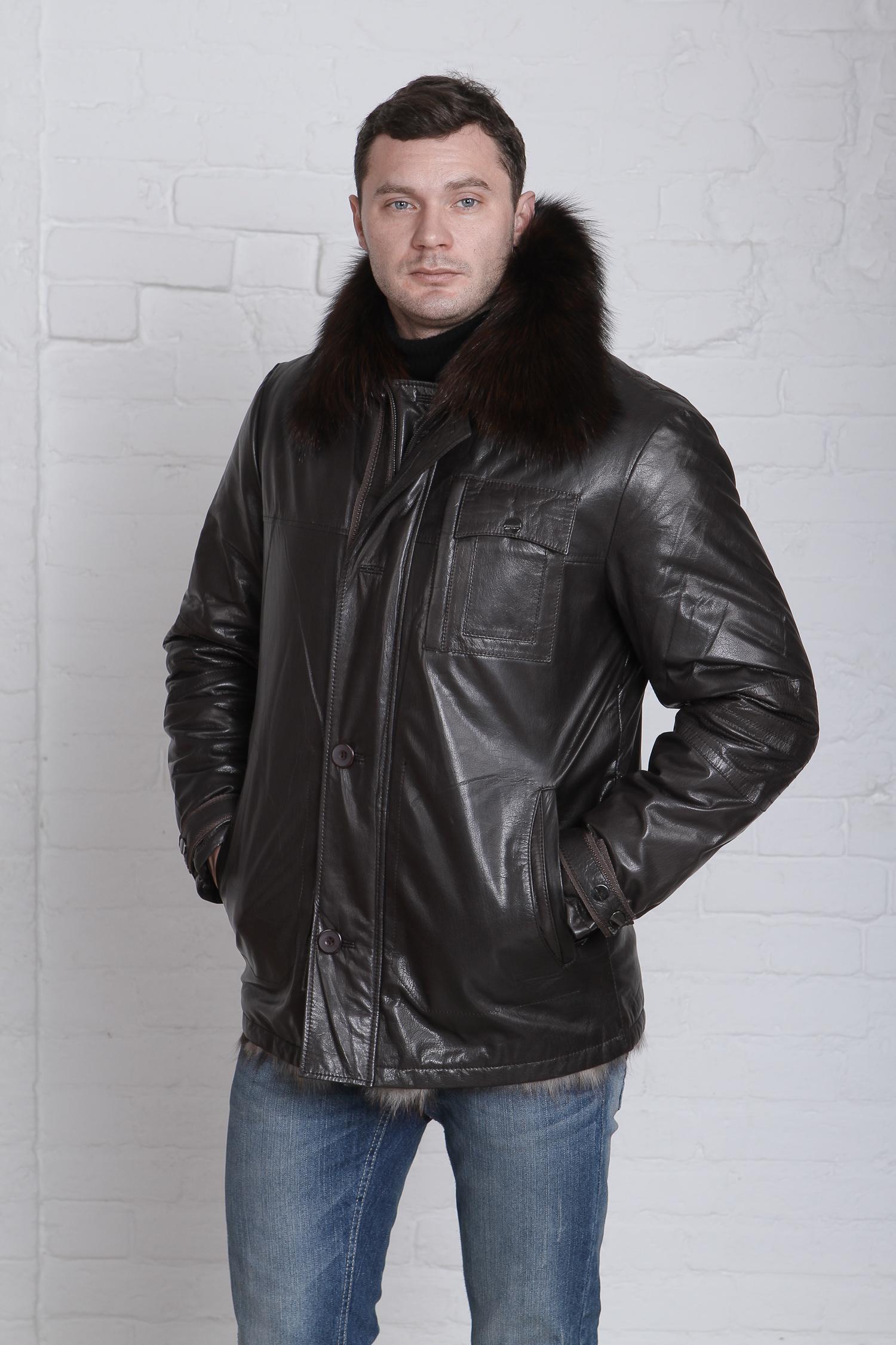 Мужская кожаная куртка из натуральной кожи на меху с воротником, отделка чернобурка