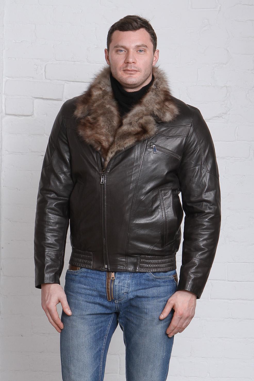 Мужская кожаная куртка из натуральной кожи с воротником, отделка тоскана<br><br>Воротник: отложной<br>Длина см: Короткая (51-74 )<br>Материал: Кожа овчина<br>Цвет: коричневый<br>Вид застежки: косая<br>Застежка: на молнии<br>Пол: Мужской<br>Размер RU: 52