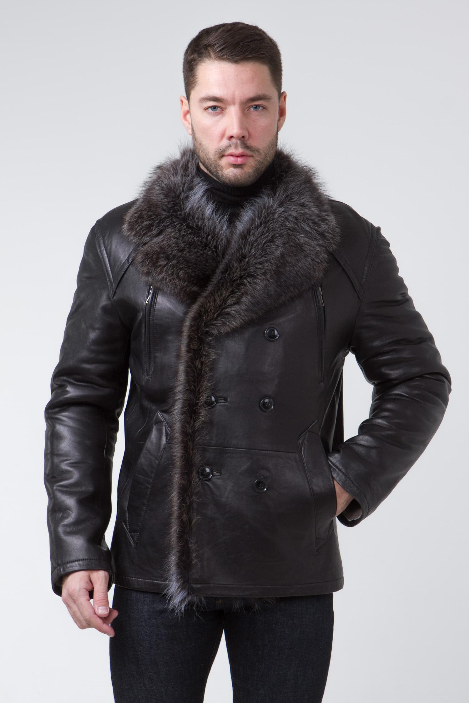 Мужская кожаная куртка из натуральной кожи на меху с воротником, отделка енот<br><br>Воротник: английский<br>Длина см: Длинная (свыше 90)<br>Материал: Кожа овчина<br>Цвет: черный<br>Вид застежки: двубортная<br>Застежка: на пуговицы<br>Пол: Мужской<br>Размер RU: 58