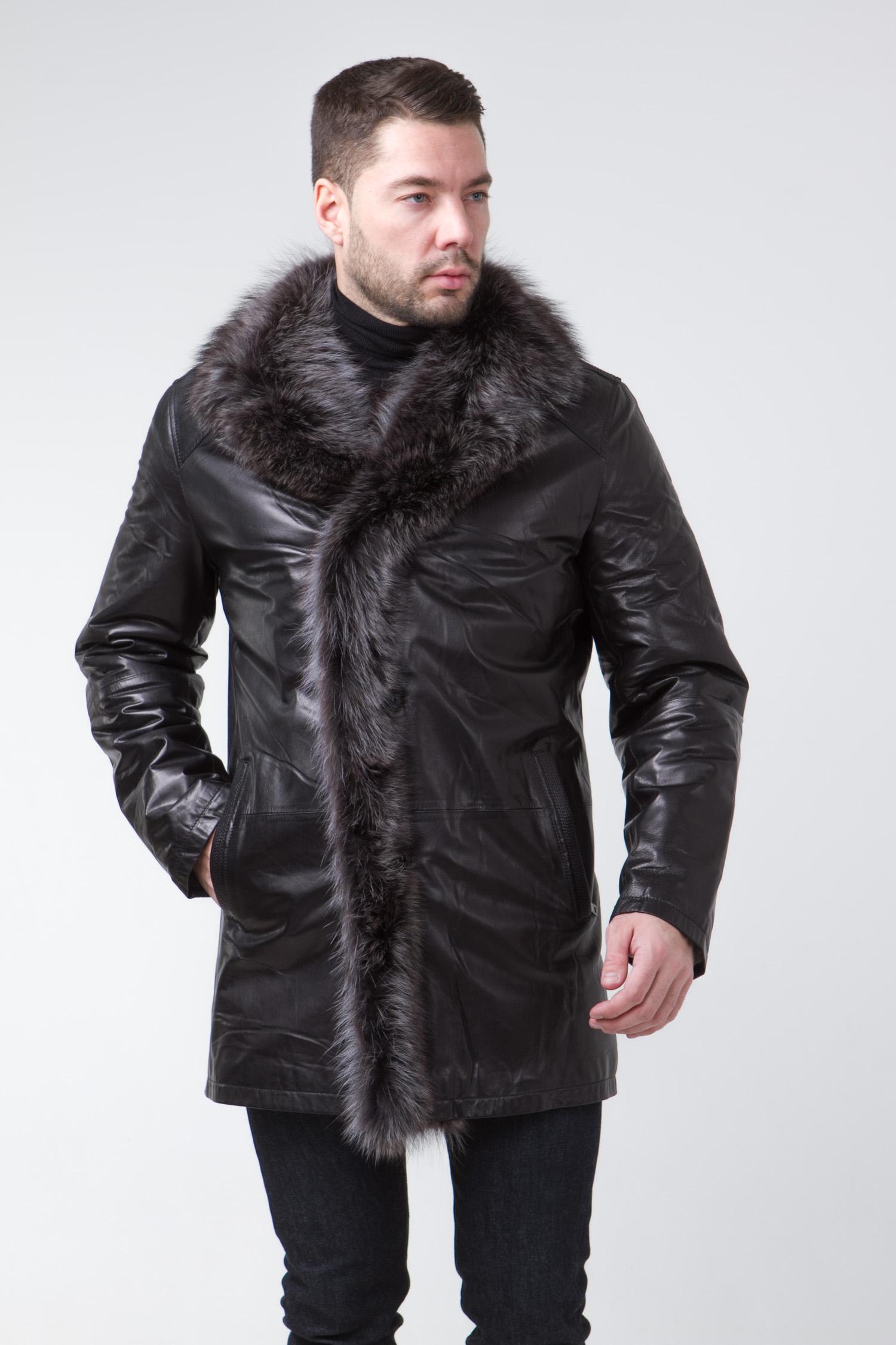Мужская кожаная куртка из натуральной кожи на меху с воротником, отделка енот<br><br>Воротник: английский<br>Длина см: Длинная (свыше 90)<br>Материал: Кожа овчина<br>Цвет: коричневый<br>Вид застежки: центральная<br>Застежка: на пуговицы<br>Пол: Мужской<br>Размер RU: 58