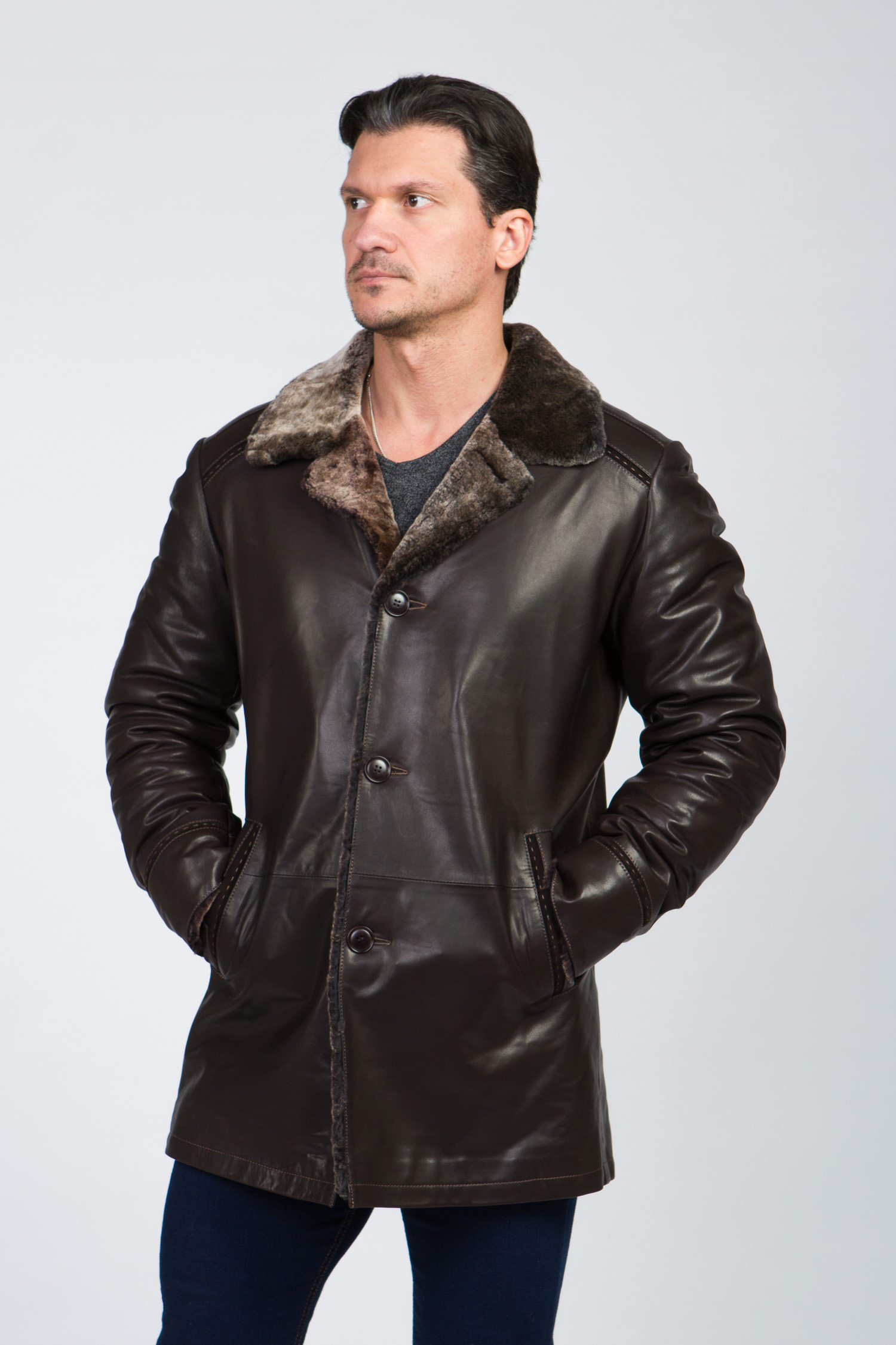 Купить со скидкой Мужская кожаная куртка из натуральной кожи на меху с воротником, без отделки