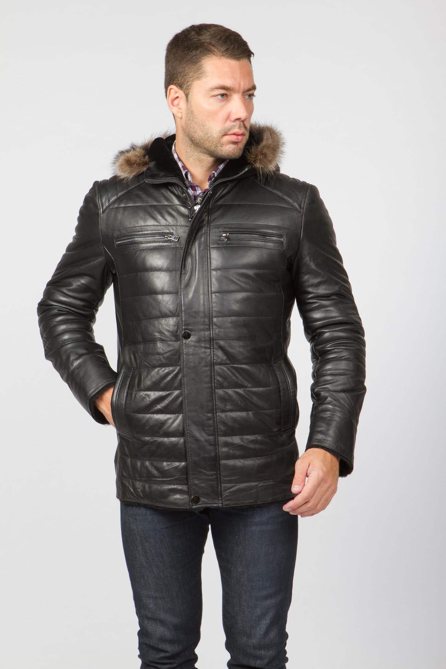 Мужская кожаная куртка из натуральной овчины на меху с капюшоном, отделка енот