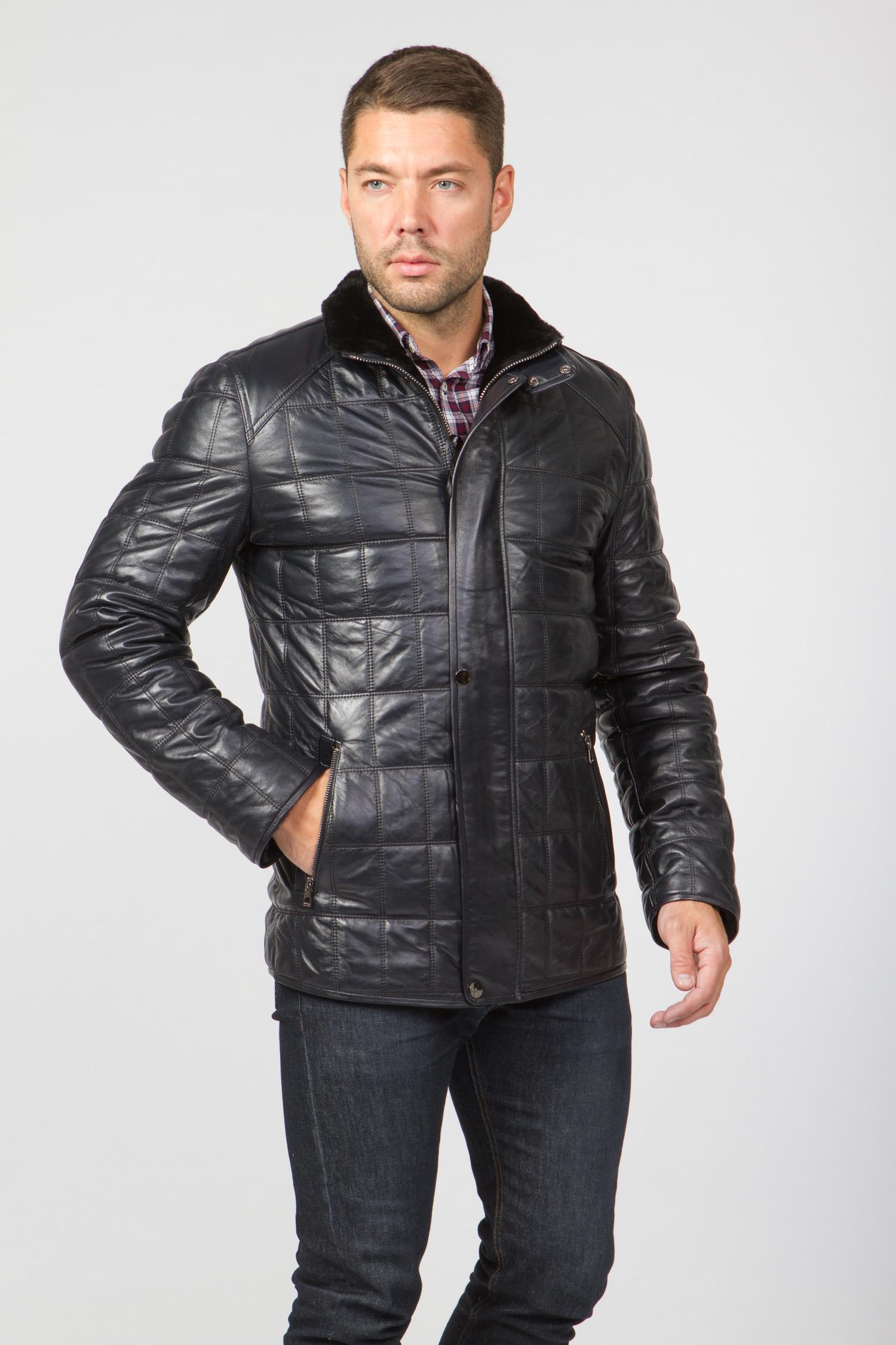 Мужская кожаная куртка из натуральной овчины на меху с воротником