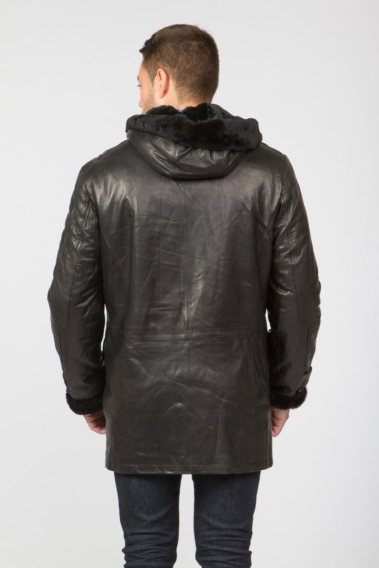 Мужская кожаная куртка из натуральной овчины на меху с капюшоном, без отделки от Московская Меховая Компания