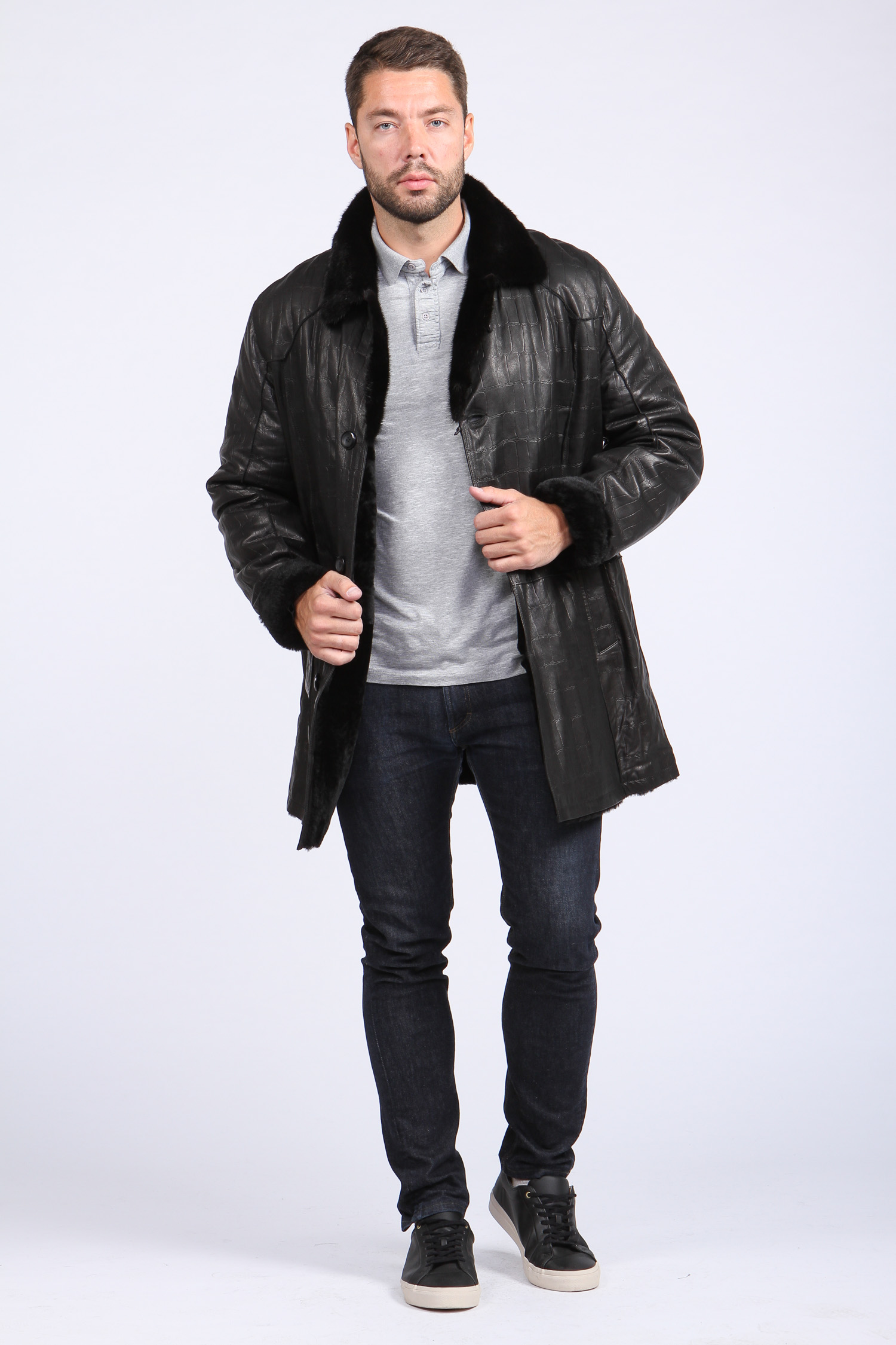 Мужская кожаная куртка из натуральной овчины на меху с воротником, отделка норка от Московская Меховая Компания
