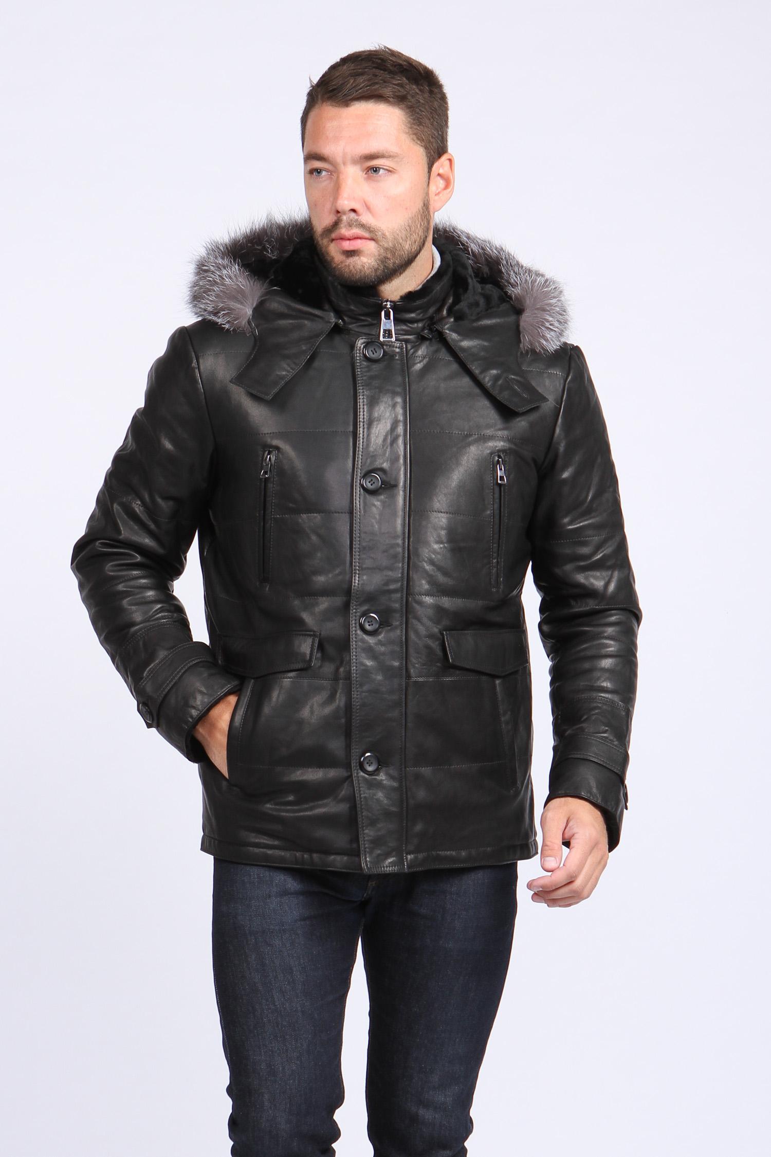 Мужская кожаная куртка из натуральной овчины на меху с капюшоном, отделка чернобурка