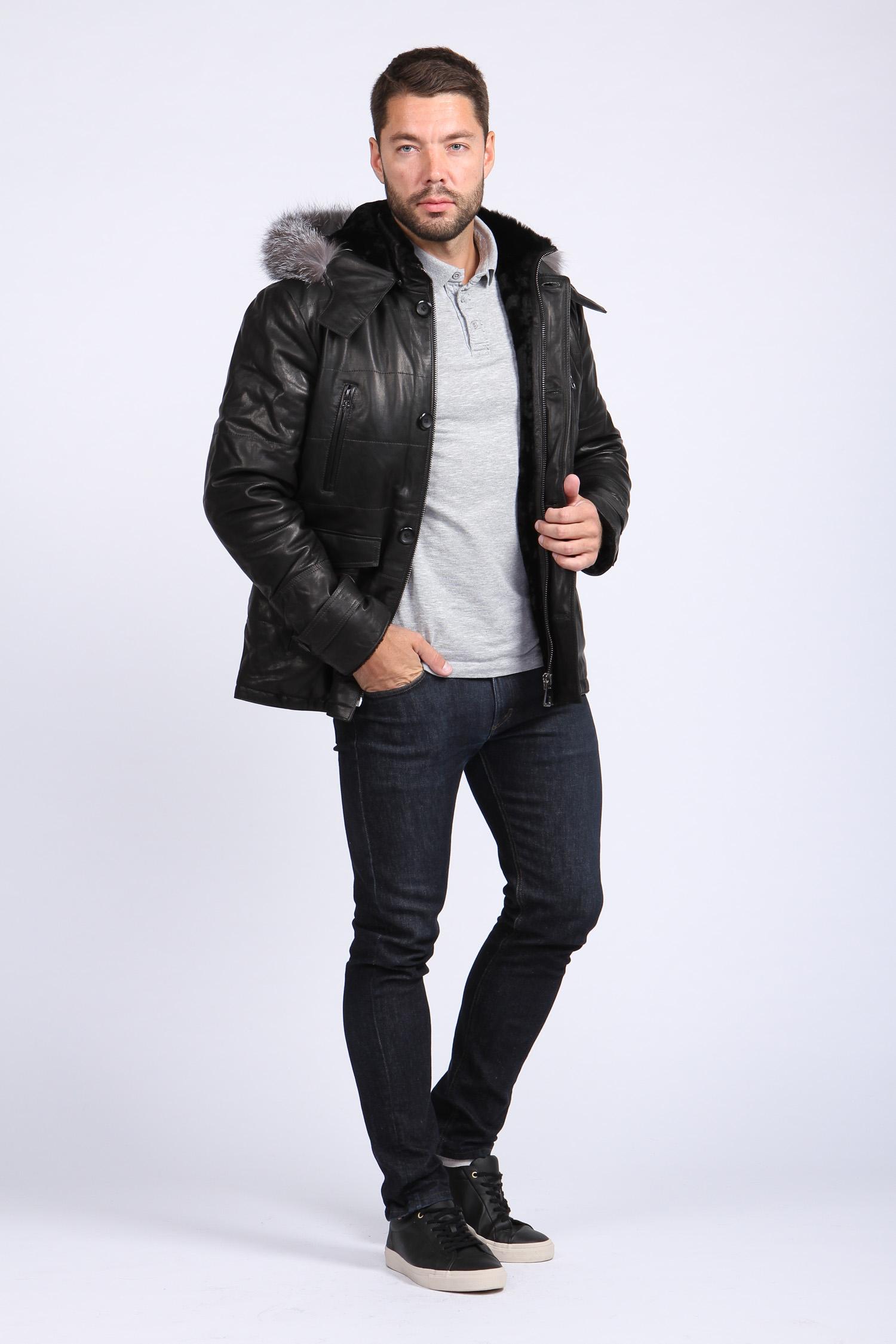 Мужская кожаная куртка из натуральной овчины на меху с капюшоном, отделка чернобурка от Московская Меховая Компания