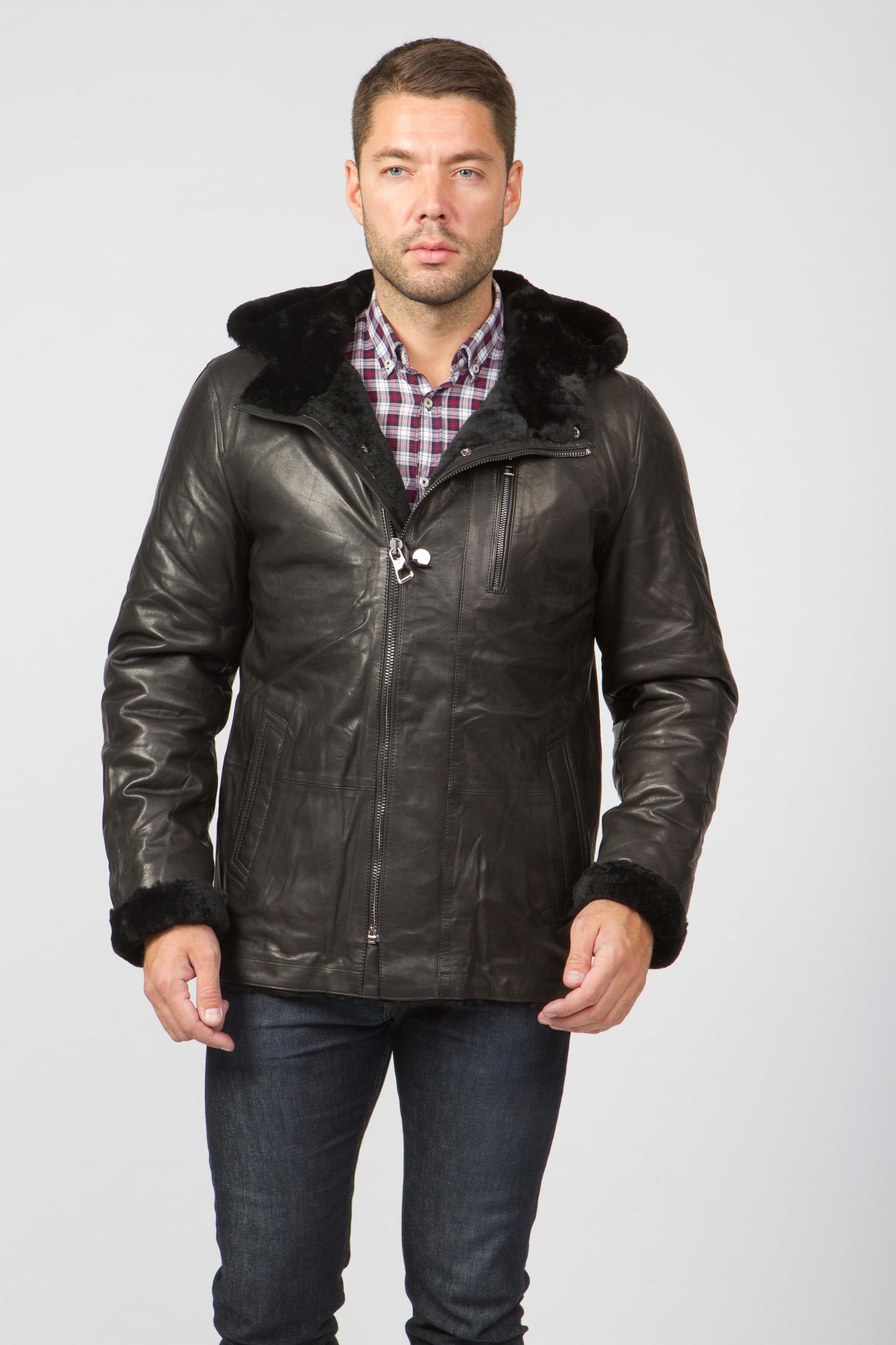 Мужская кожаная куртка из натуральной овчины на меху с капюшоном, без отделки