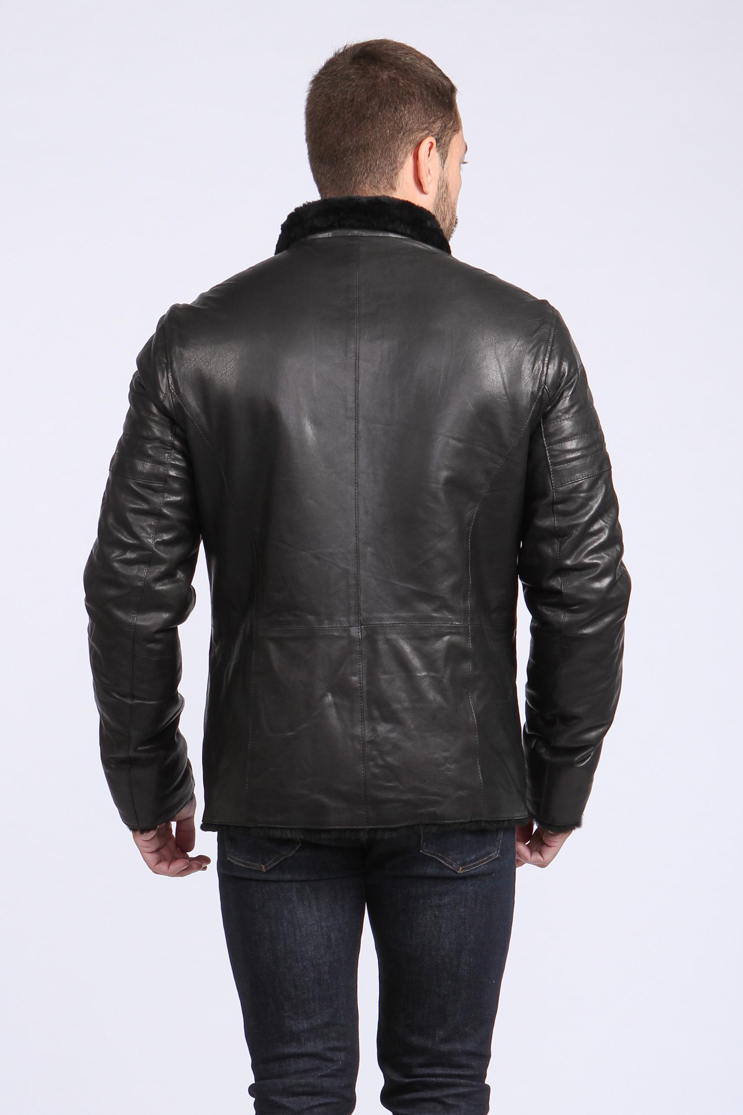 Мужская кожаная куртка из натуральной овчины на меху с воротником, без отделки от Московская Меховая Компания