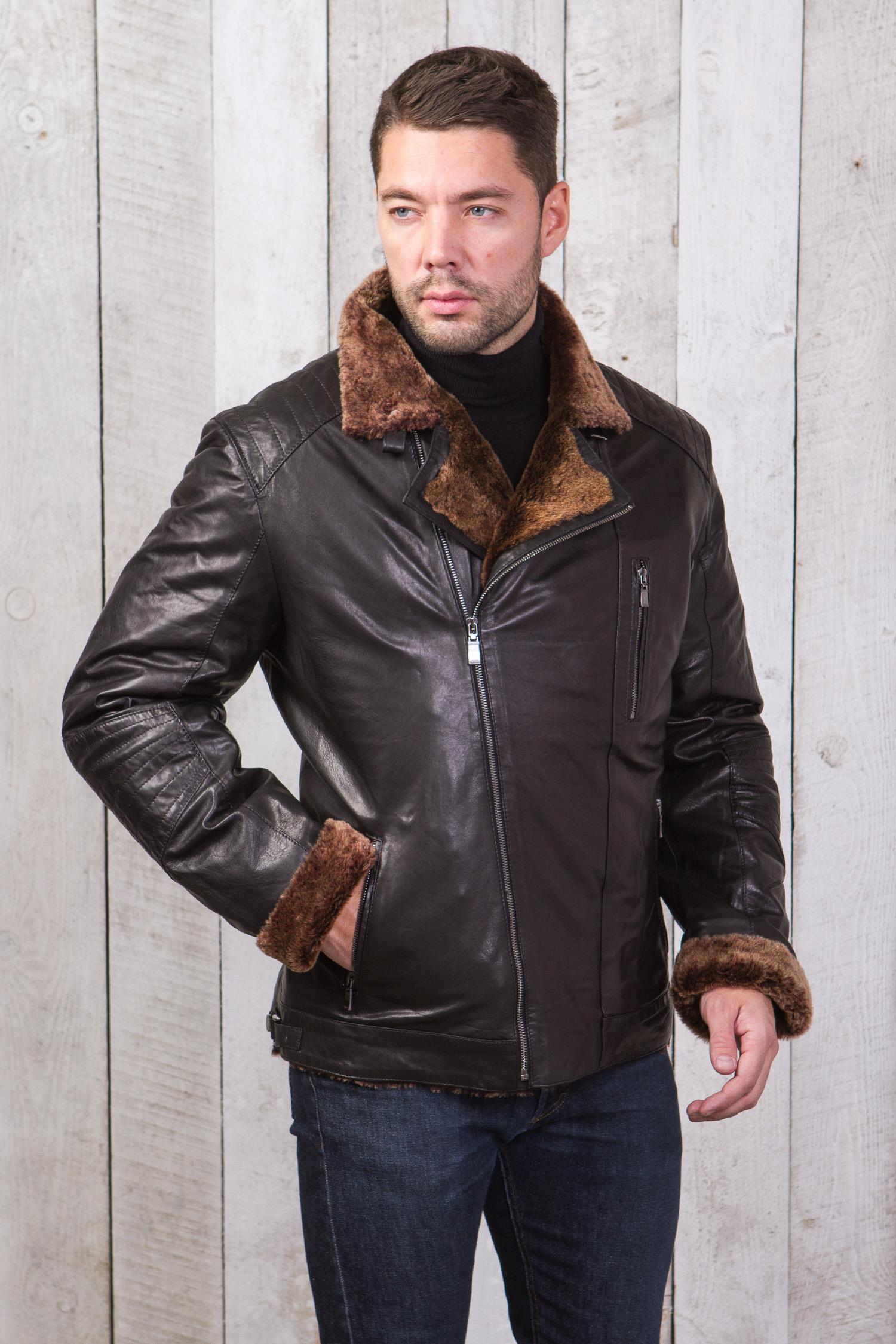 Купить со скидкой Мужская кожаная куртка из натуральной овчины на меху с воротником, без отделки