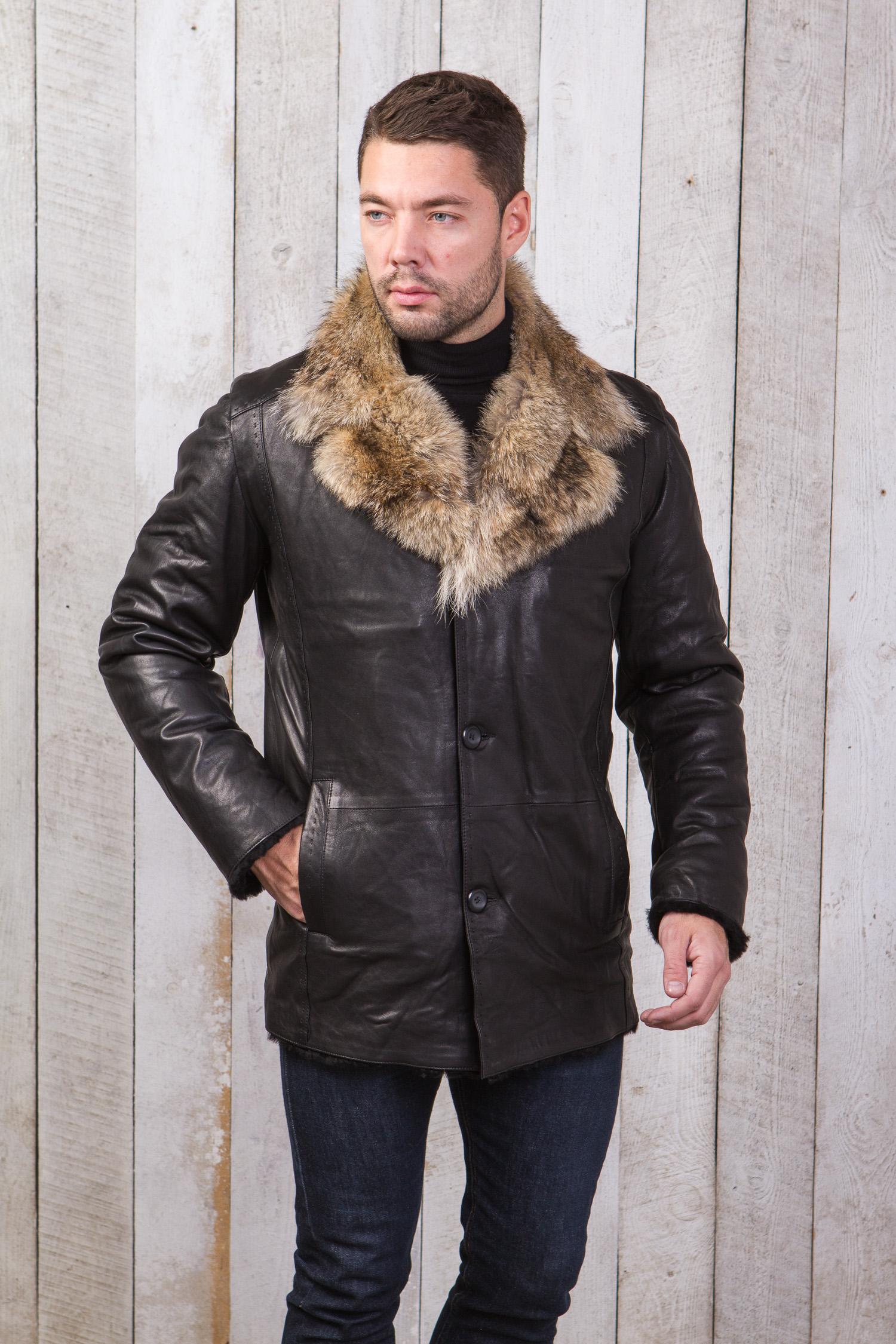 Мужская кожаная куртка из натуральной овчины на меху с воротником, отделка енот