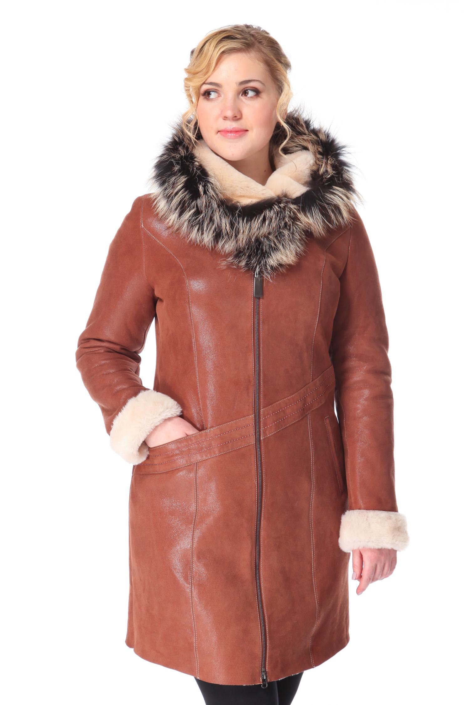 Купить со скидкой Дубленка женская из натуральной овчины с капюшоном, отделка лиса