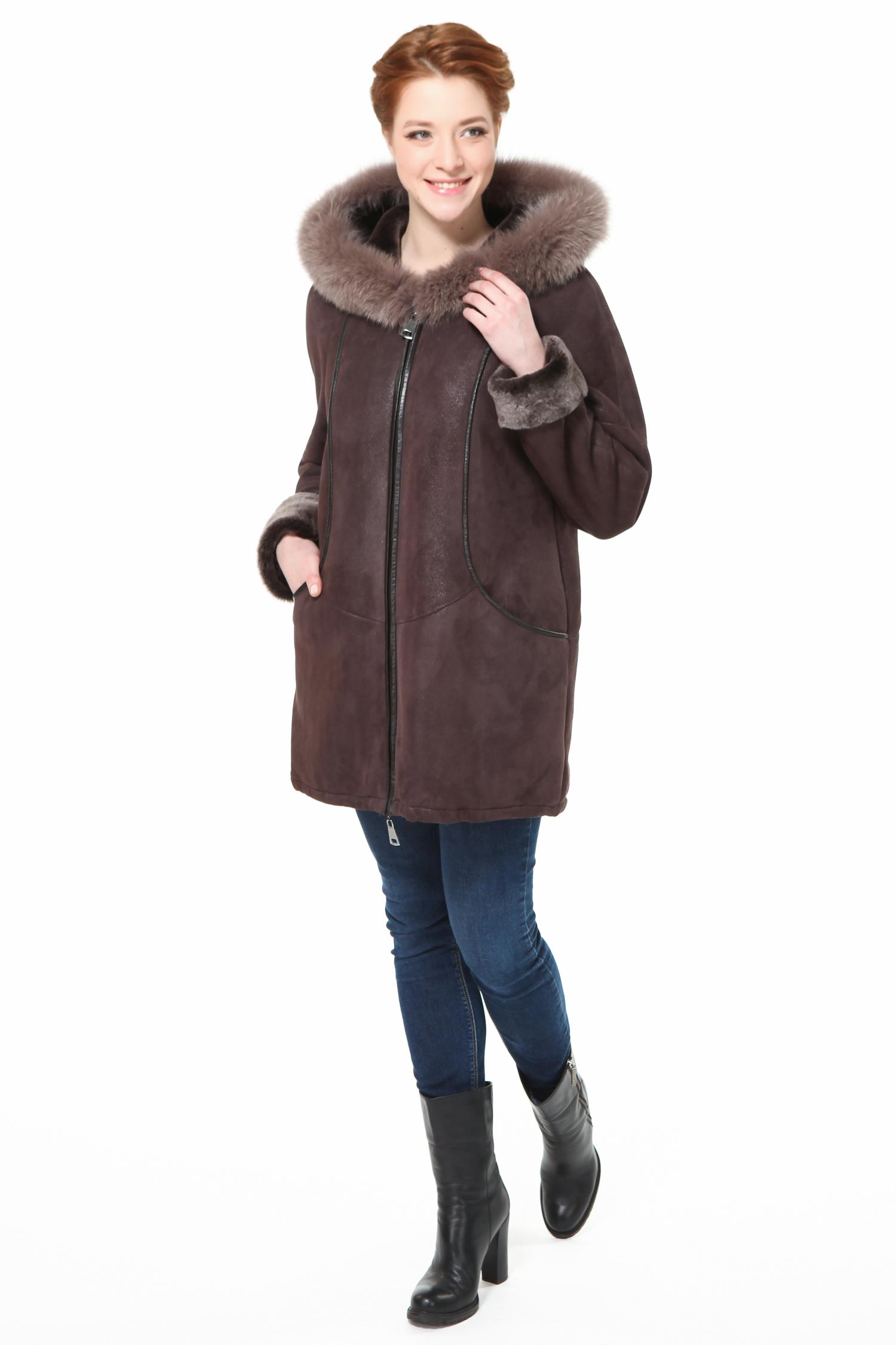 Дубленка женская из натуральной овчины с капюшоном, отделка песец от Московская Меховая Компания