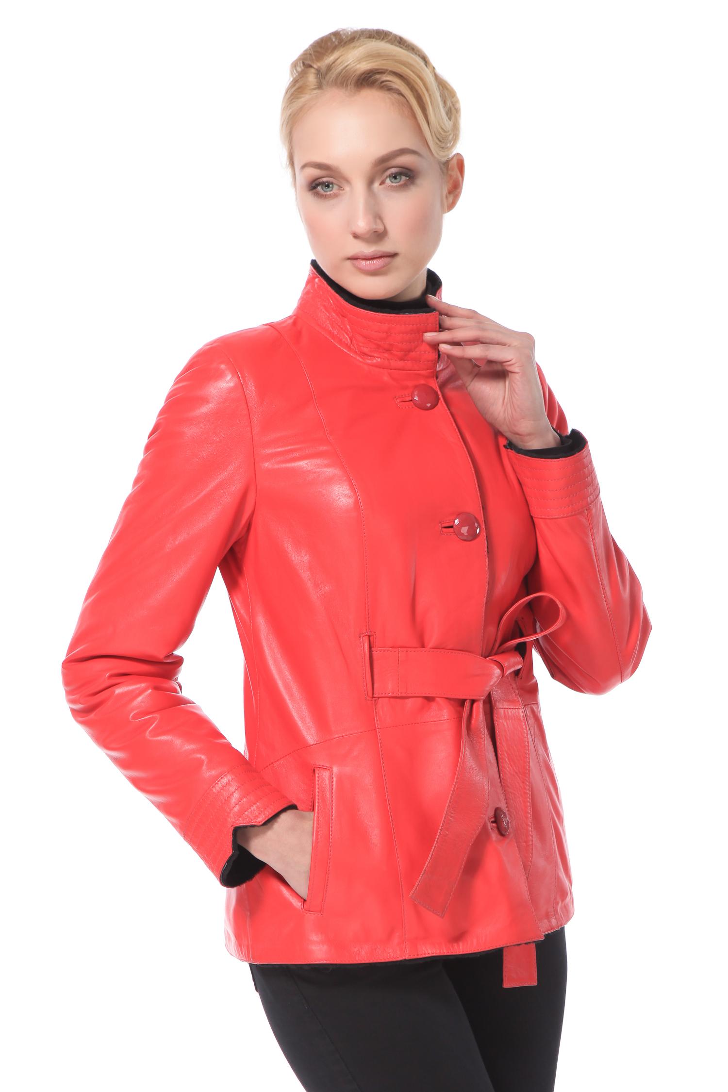 Дубленка женская из натуральной кожи с воротником, без отделки<br><br>Воротник: Стойка<br>Длина см: 65<br>Материал: Наппа/интерфин<br>Цвет: Рыжий<br>Пол: Женский