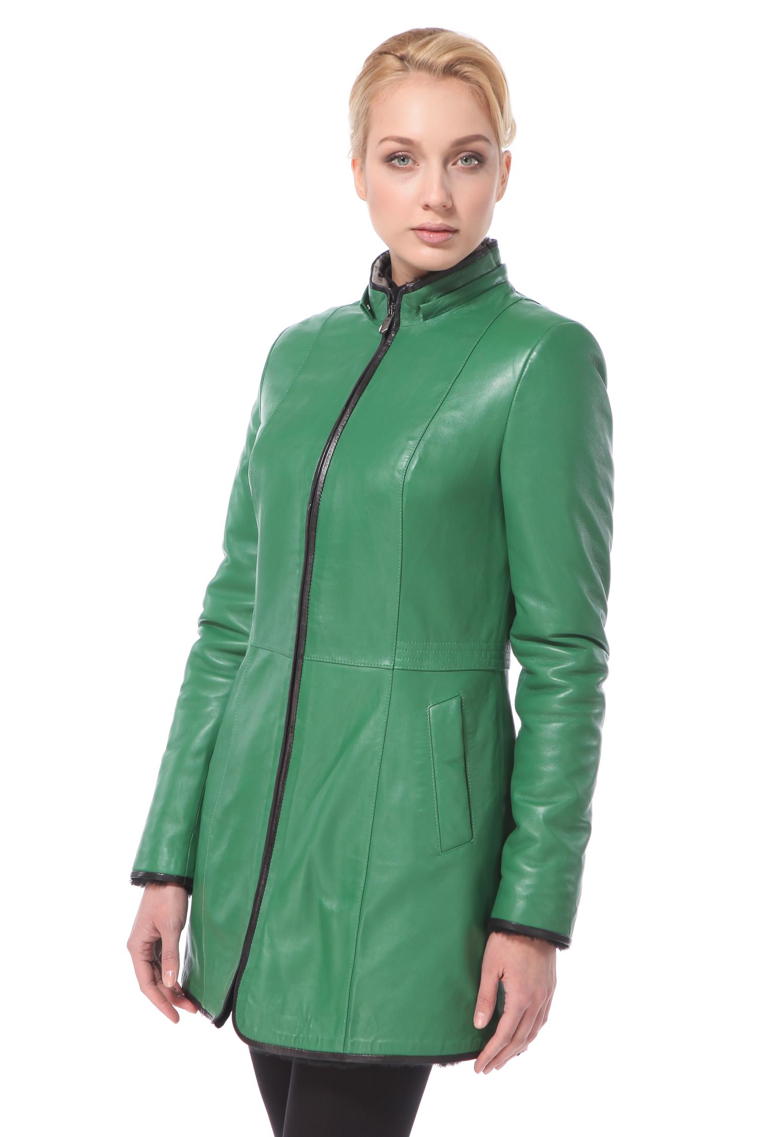 Дубленка женская из натуральной кожи с капюшоном, без отделки<br><br>Воротник: Капюшон<br>Длина см: 90<br>Материал: Наппа/интерфин<br>Цвет: Зеленый<br>Пол: Женский