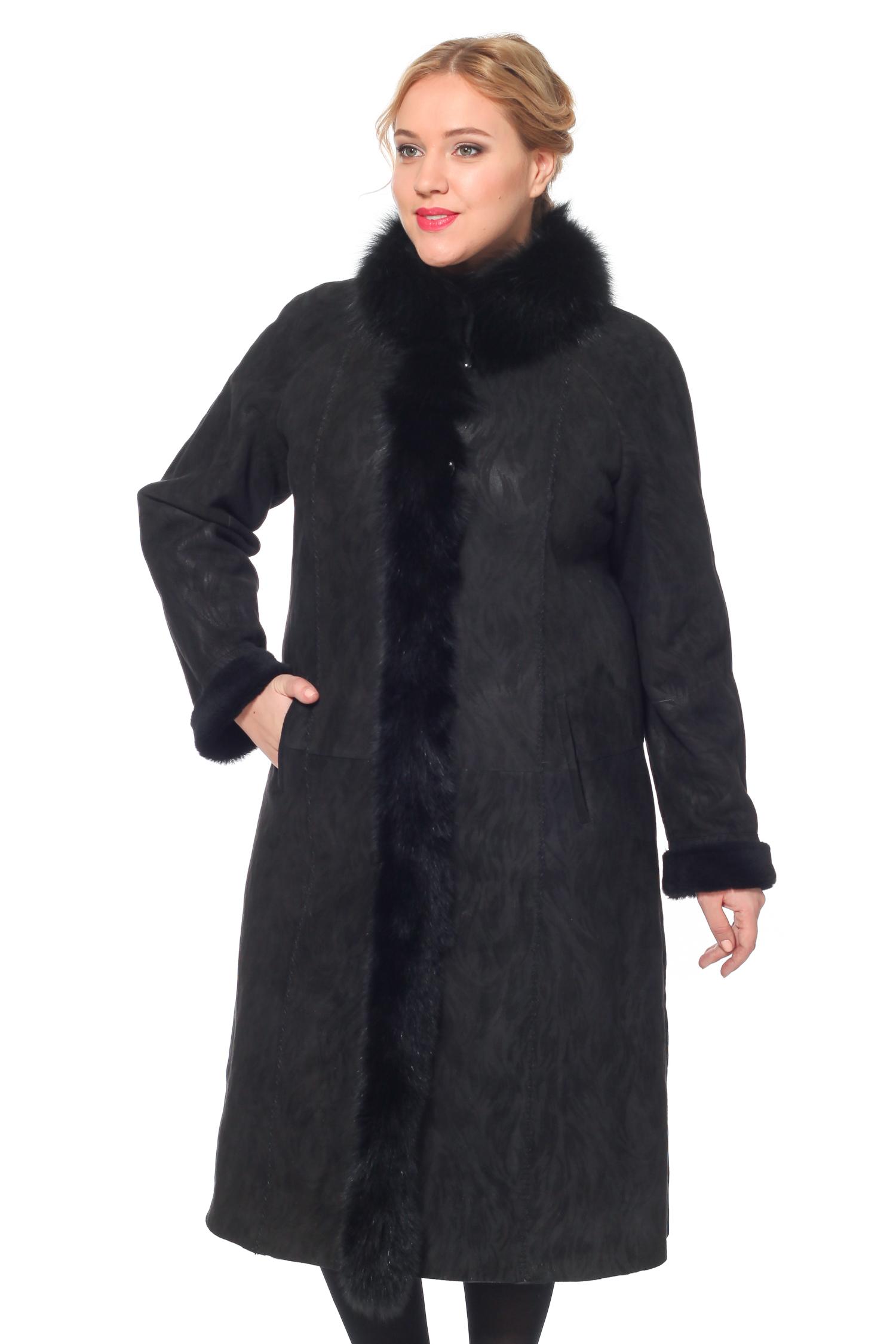 Дубленка женская из натуральной овчины с капюшоном, отделка песец<br><br>Воротник: Капюшон<br>Длина см: 115<br>Материал: Овчина<br>Цвет: Черный<br>Вид застежки: Песец<br>Пол: Женский
