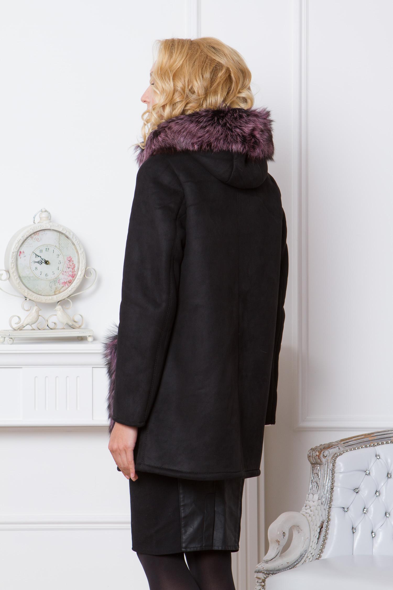 Дубленка женская с капюшоном, отделка натуральным мехом чернобурки