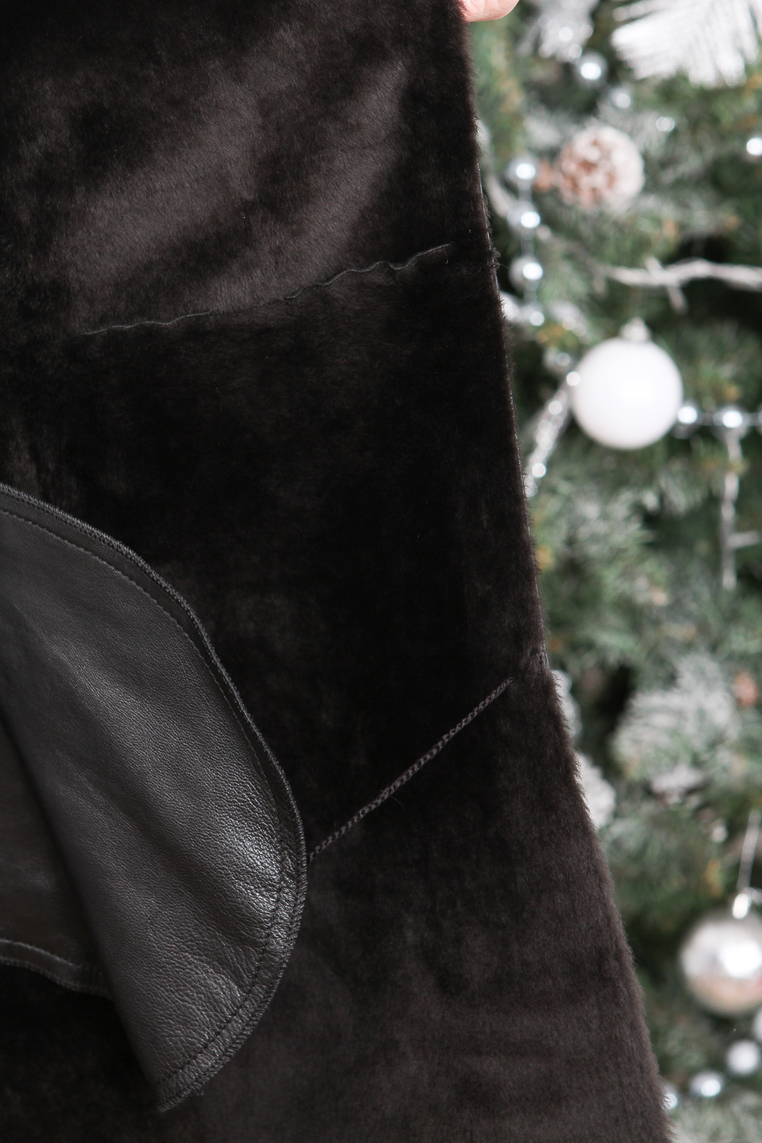 Дубленка женская из натуральной овчины с капюшоном, отделка кожа