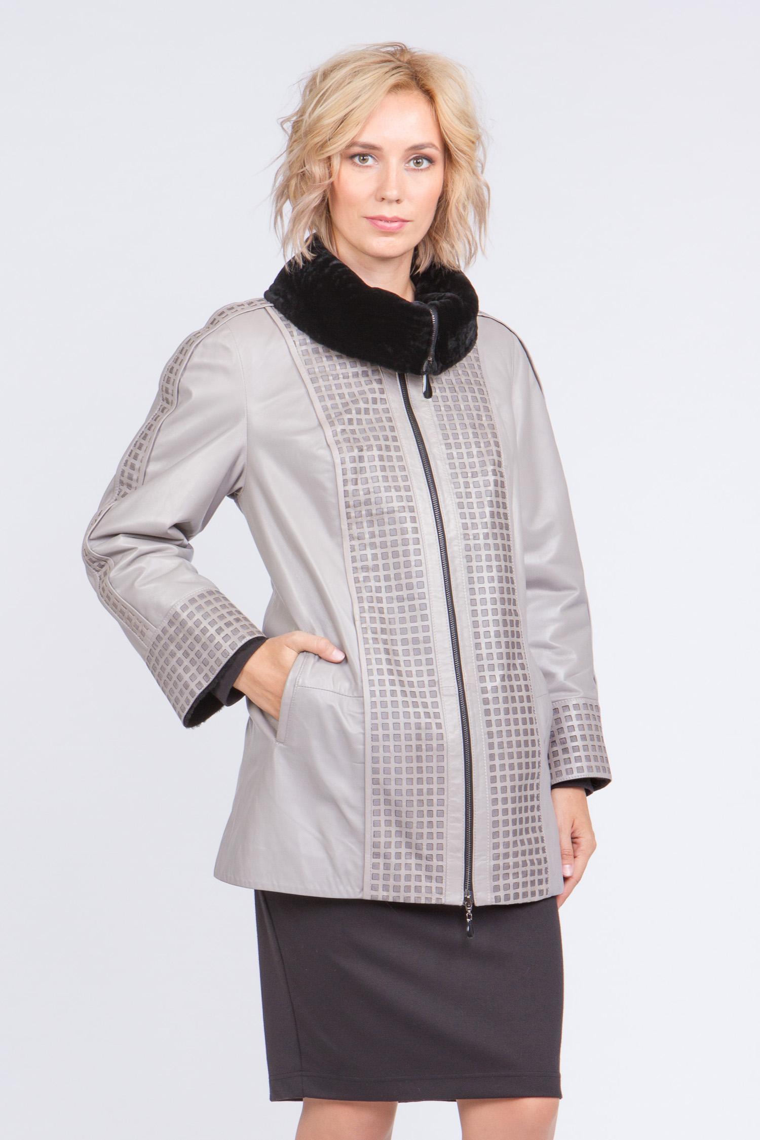 Женская кожаная куртка из натуральной кожи на меху с воротником, без отделки