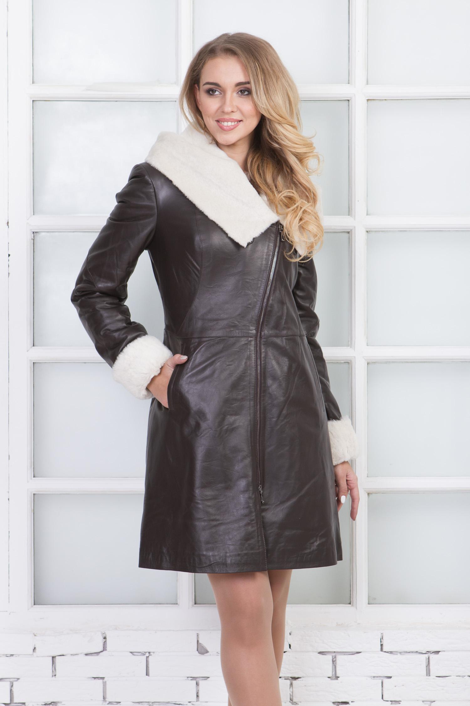 Женское кожаное пальто из натуральной овчины на меху с капюшоном, без отделки