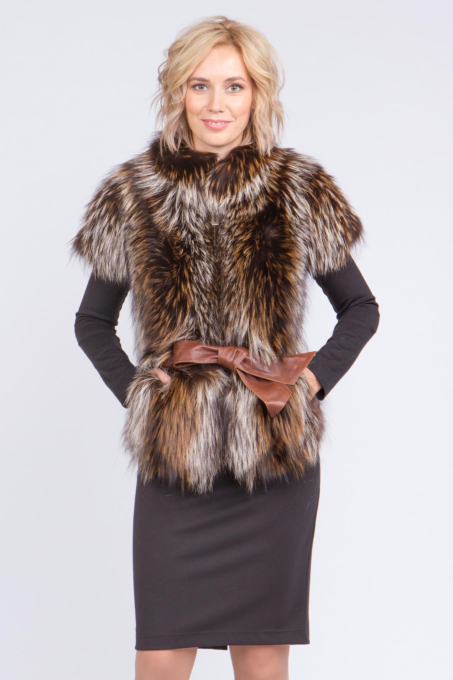 Купить со скидкой Меховой жилет из енота с воротником, без отделки
