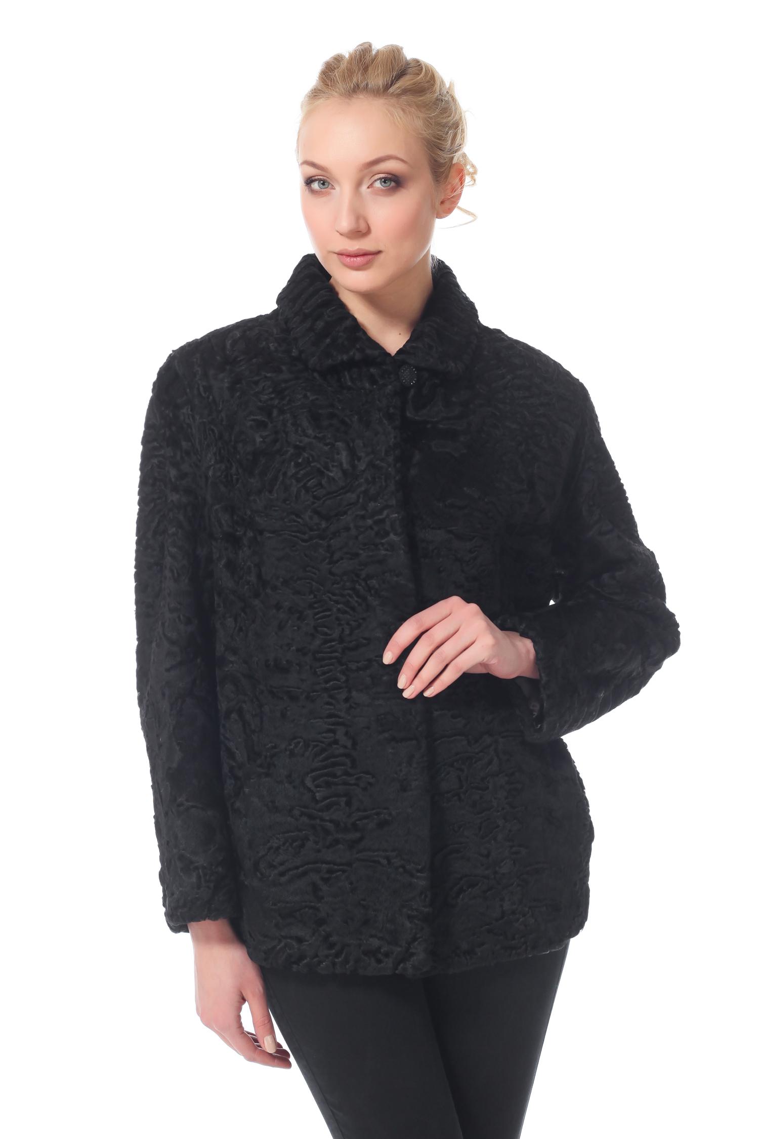 Куртка из каракуля с воротником, без отделки