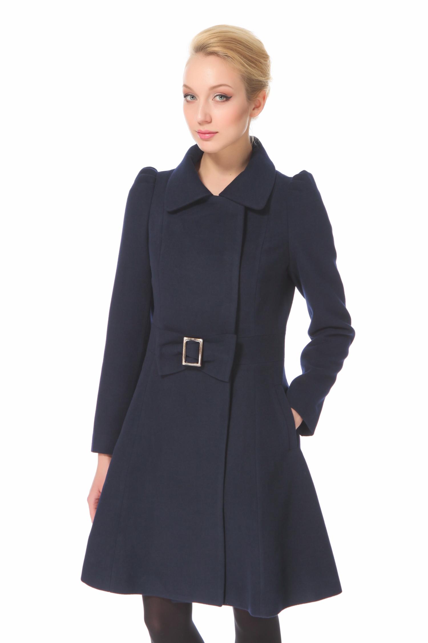 Женское пальто с воротником, без отделки<br><br>Воротник: Обычный<br>Длина см: 90<br>Материал: Кашемир<br>Цвет: Синий<br>Пол: Женский