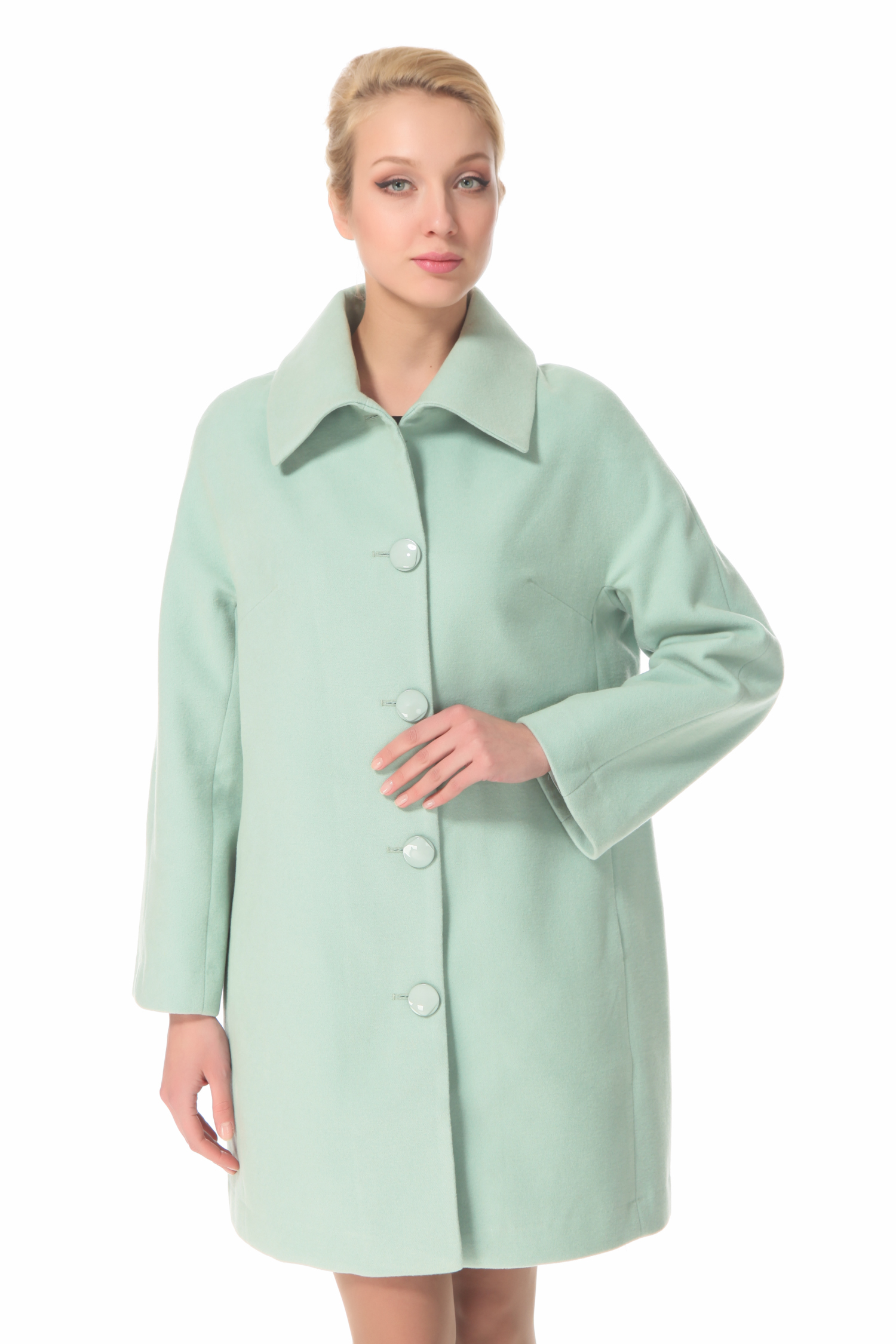Женское пальто с воротником, без отделки<br><br>Воротник: Обычный<br>Длина см: 90<br>Материал: 20% шерсть 70% полиэстер 10% в<br>Цвет: Зеленый<br>Пол: Женский
