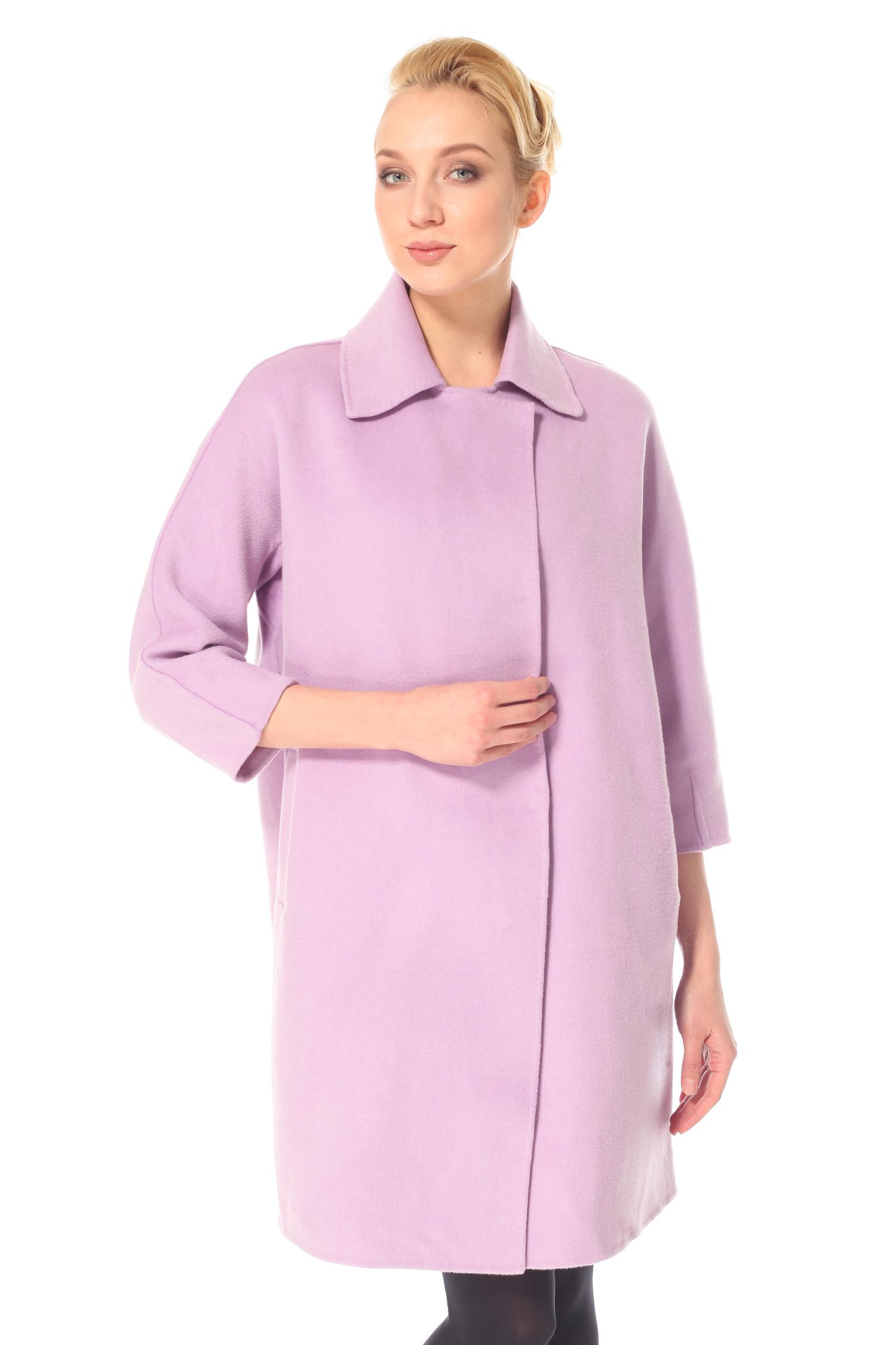 Фото - Женское пальто из текстиля с воротником от МОСМЕХА цвета фуксия