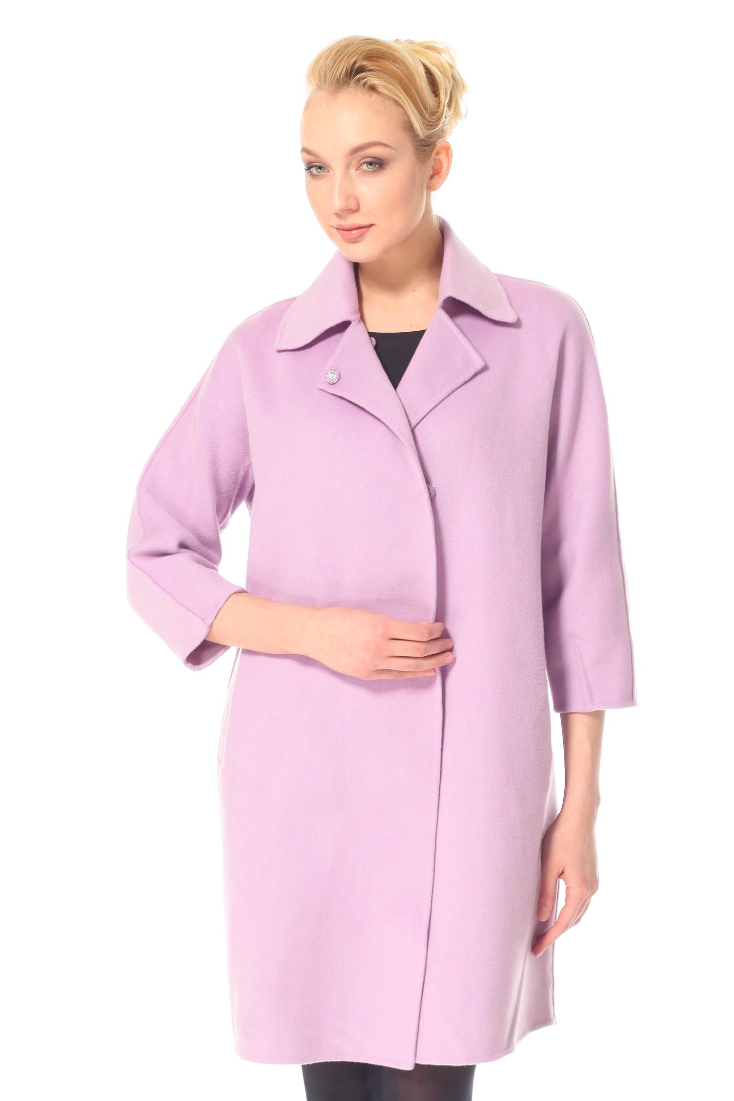 Фото 3 - Женское пальто из текстиля с воротником от МОСМЕХА цвета фуксия