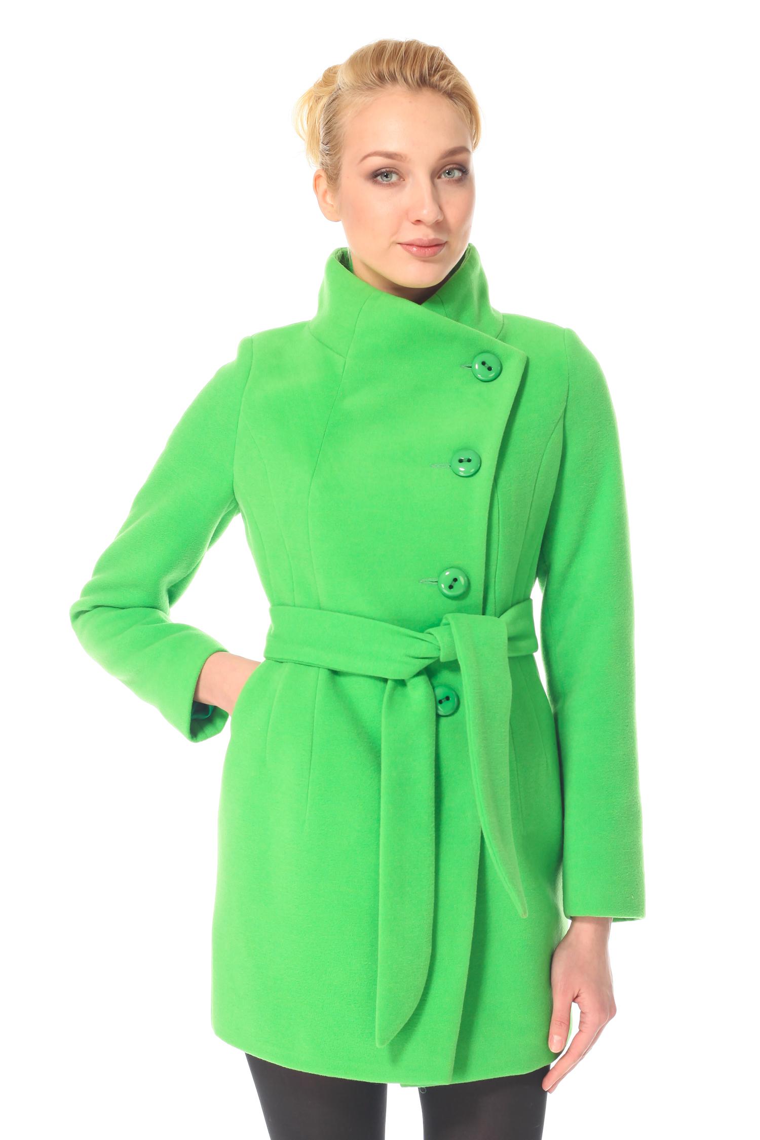 Женское пальто с воротником, без отделки<br><br>Воротник: Стойка<br>Длина см: 80<br>Материал: 80% шерсть 20% полиамид<br>Цвет: Зеленый<br>Пол: Женский