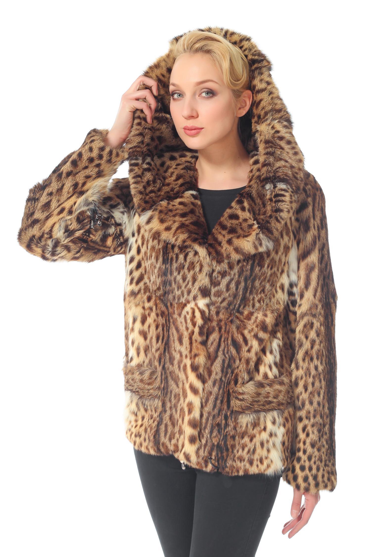Куртка из камышового кота с капюшоном, без отделки<br><br>Воротник: Капюшон<br>Длина см: 65<br>Цвет: Леопард<br>Пол: Женский