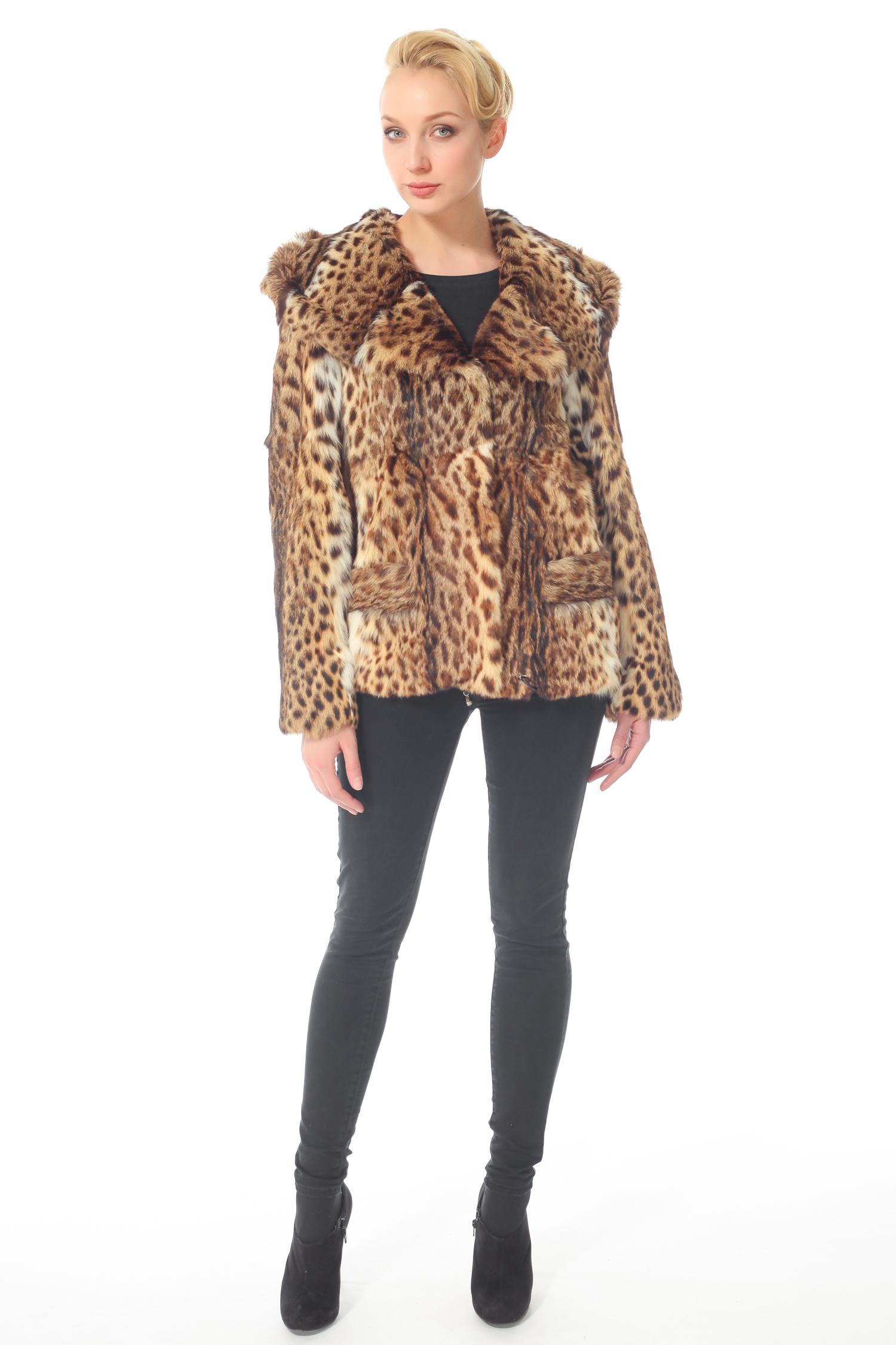 Куртка из камышового кота с капюшоном, без отделки от Московская Меховая Компания